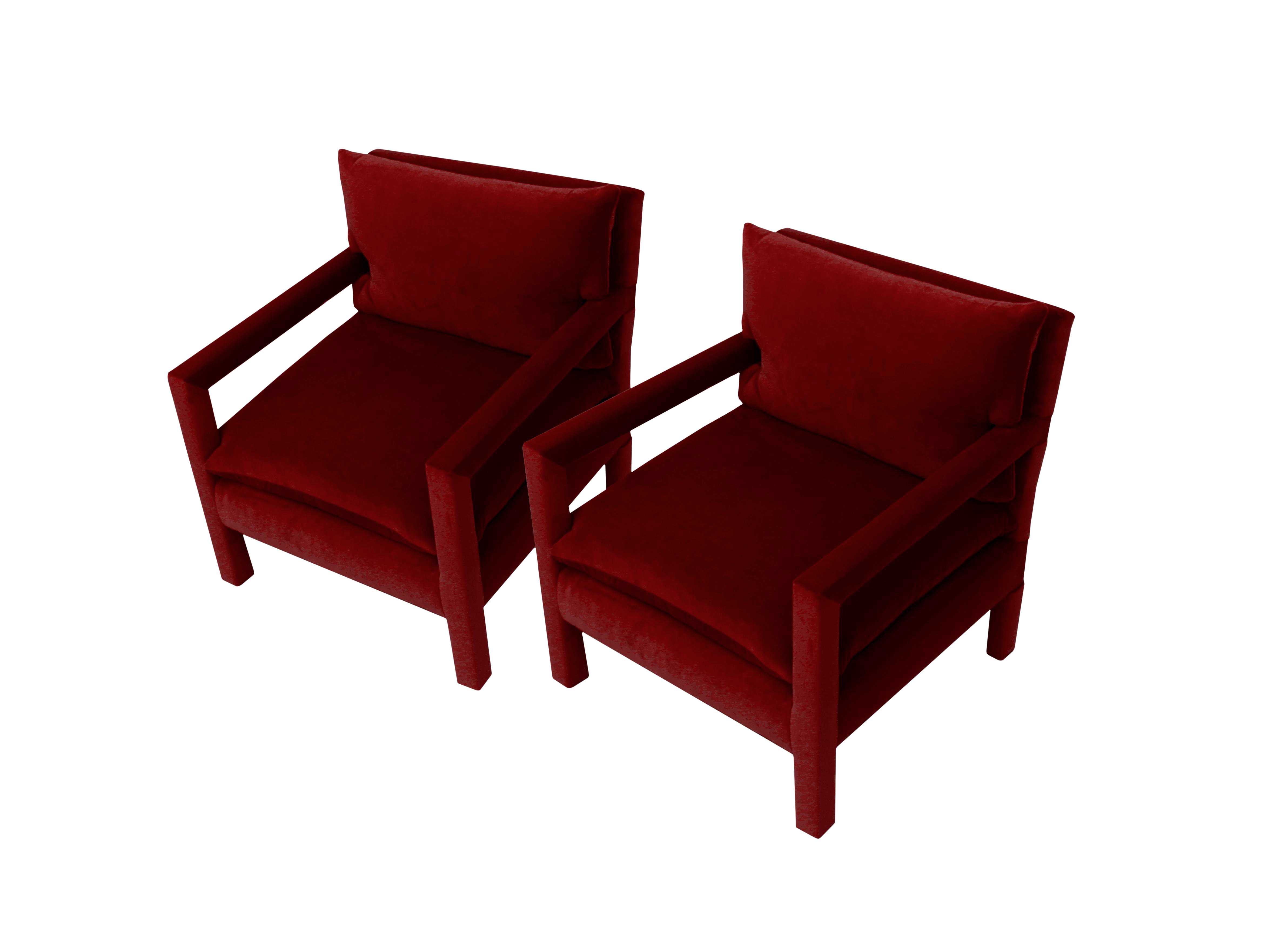 dadbb4576bcc High-End Stunning Pair of Parsons Armchairs in Ruby Mohair Velvet ...