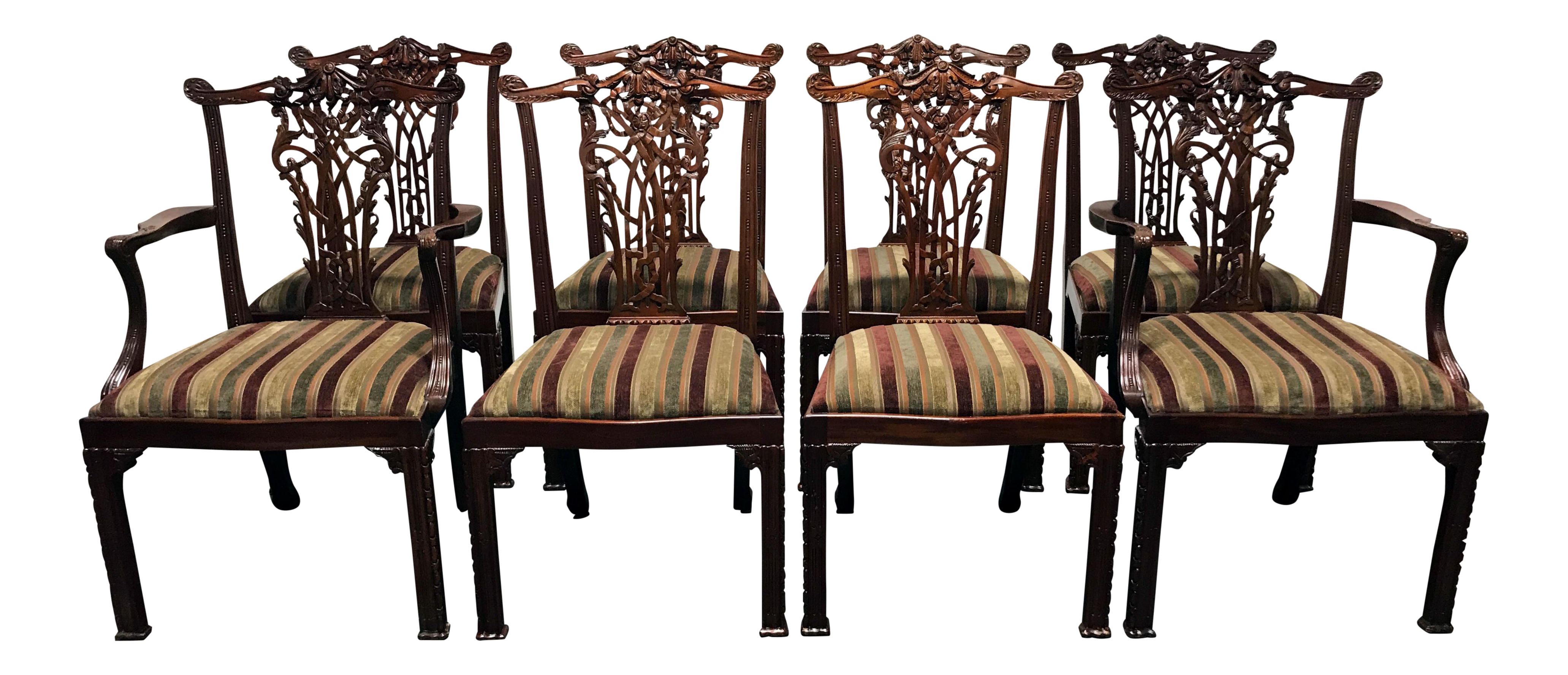 Maitland Smith Mahogany Chippendale Dining Chairs Set Of