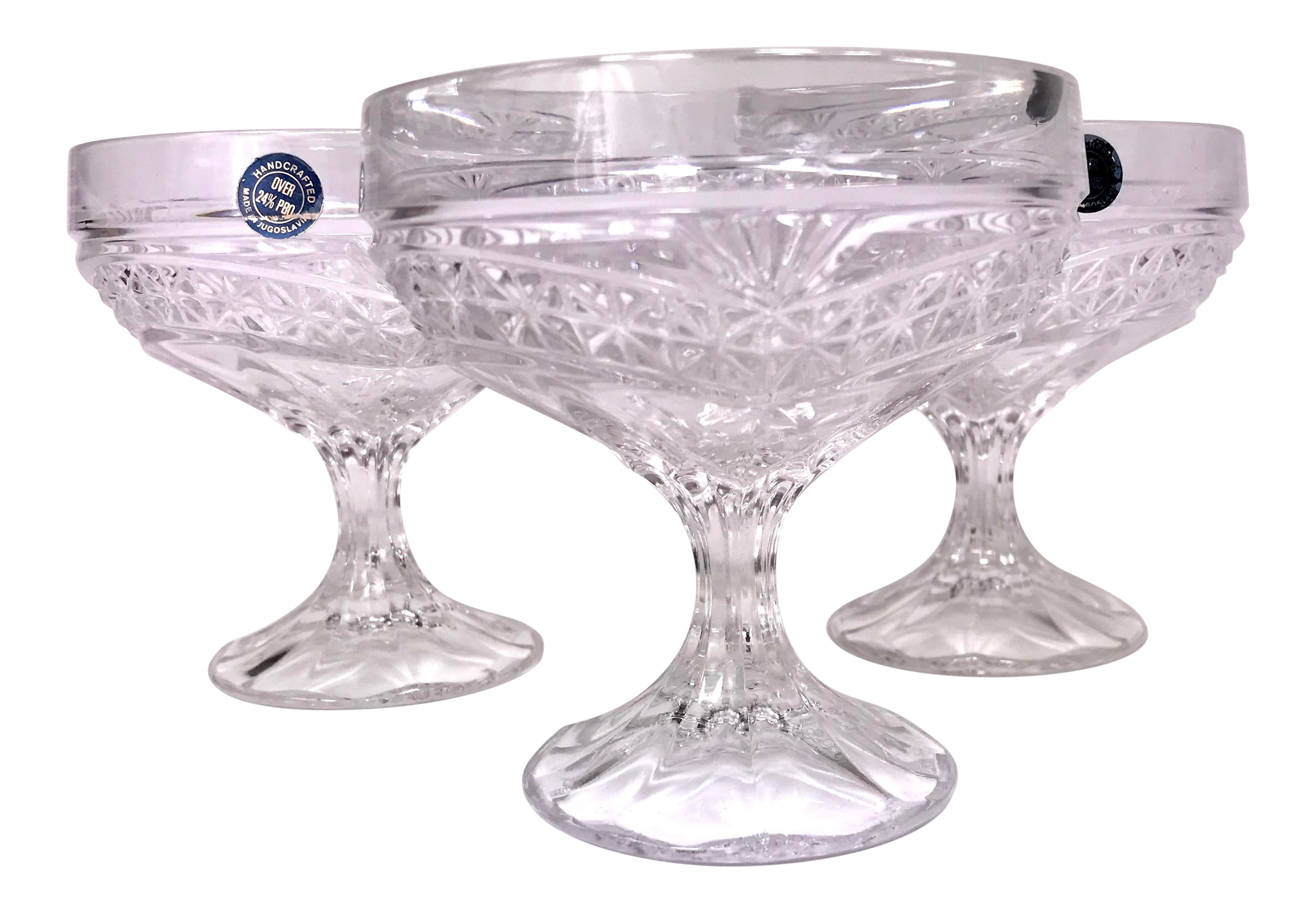 Early 20th Century Handcrafted Jugoslavian Lead Crystal Coupe Glasses Set Of 3 Chairish