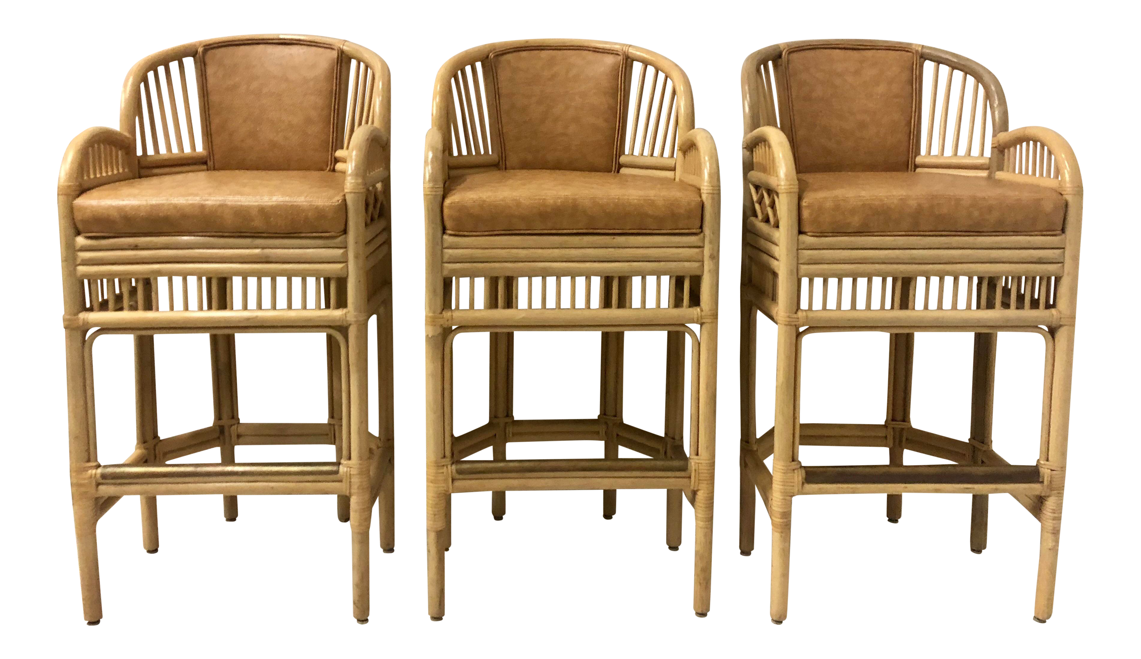 Set of 3 chippendale style bamboo bar stools 6 available chairish