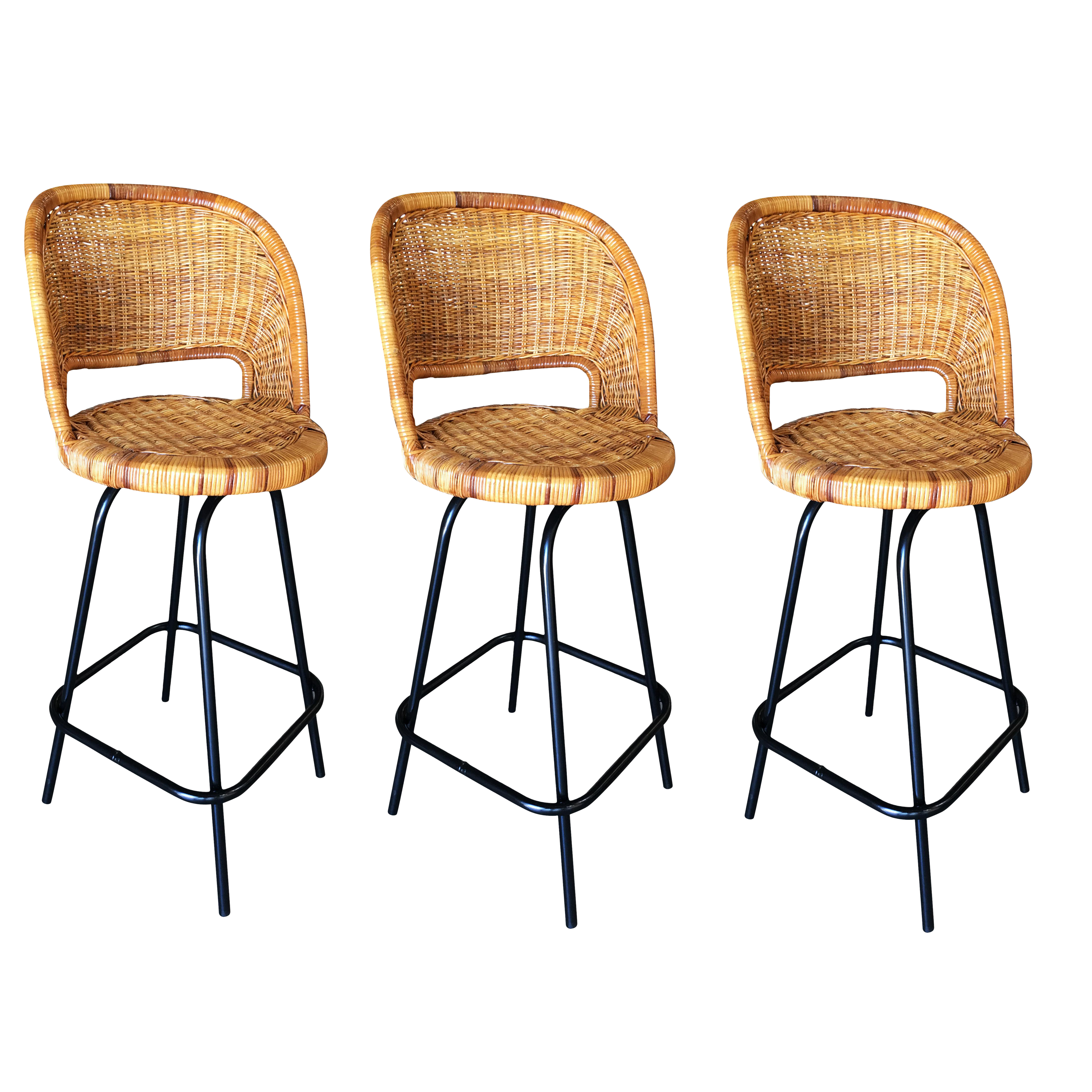 Image of: Swivel Wicker Bar Stools In The Seng Of Chicago Style Set Of 3 Chairish