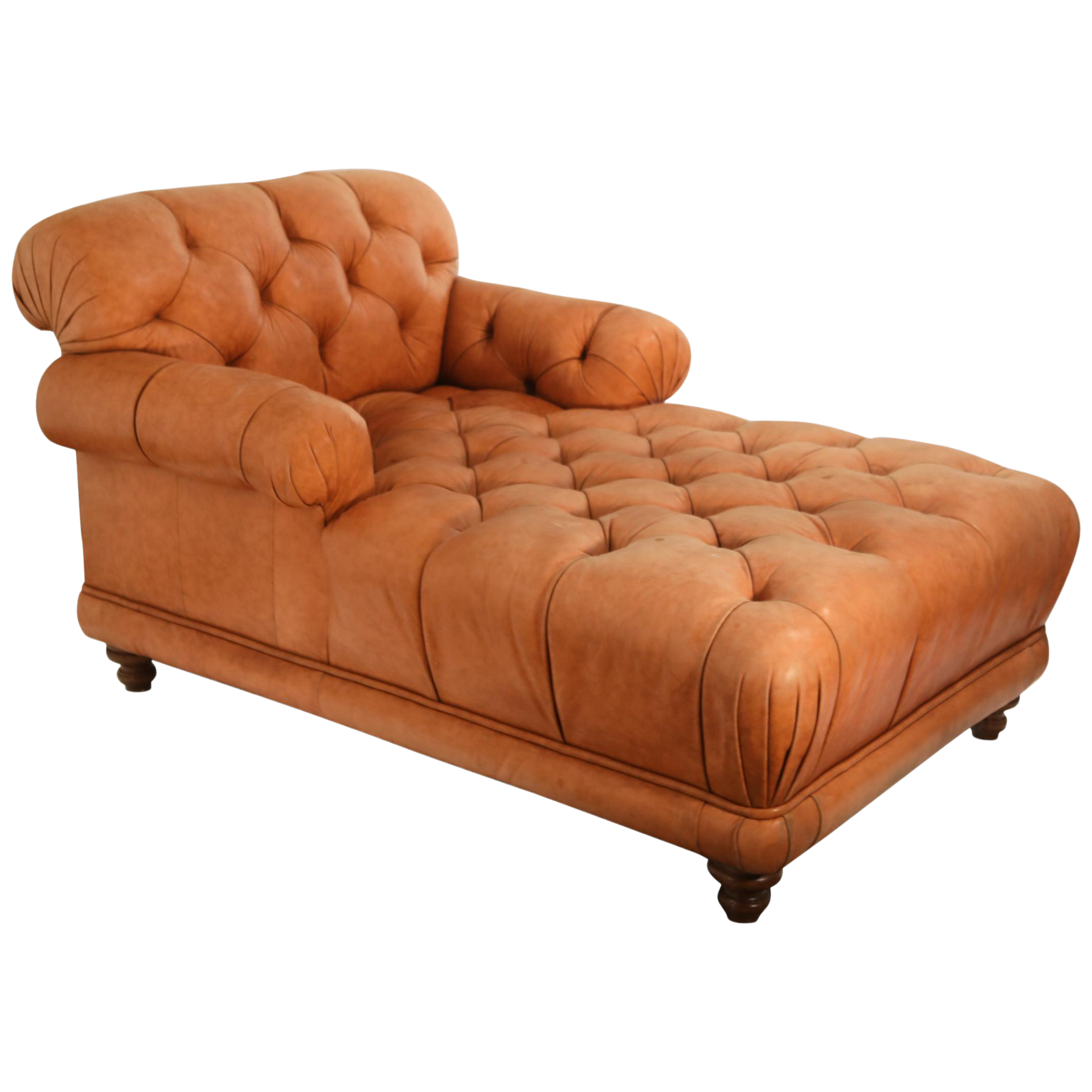 Tufted Distressed Leather Ralph Lauren Chesterfield Styled Chaise Lounge Daybed