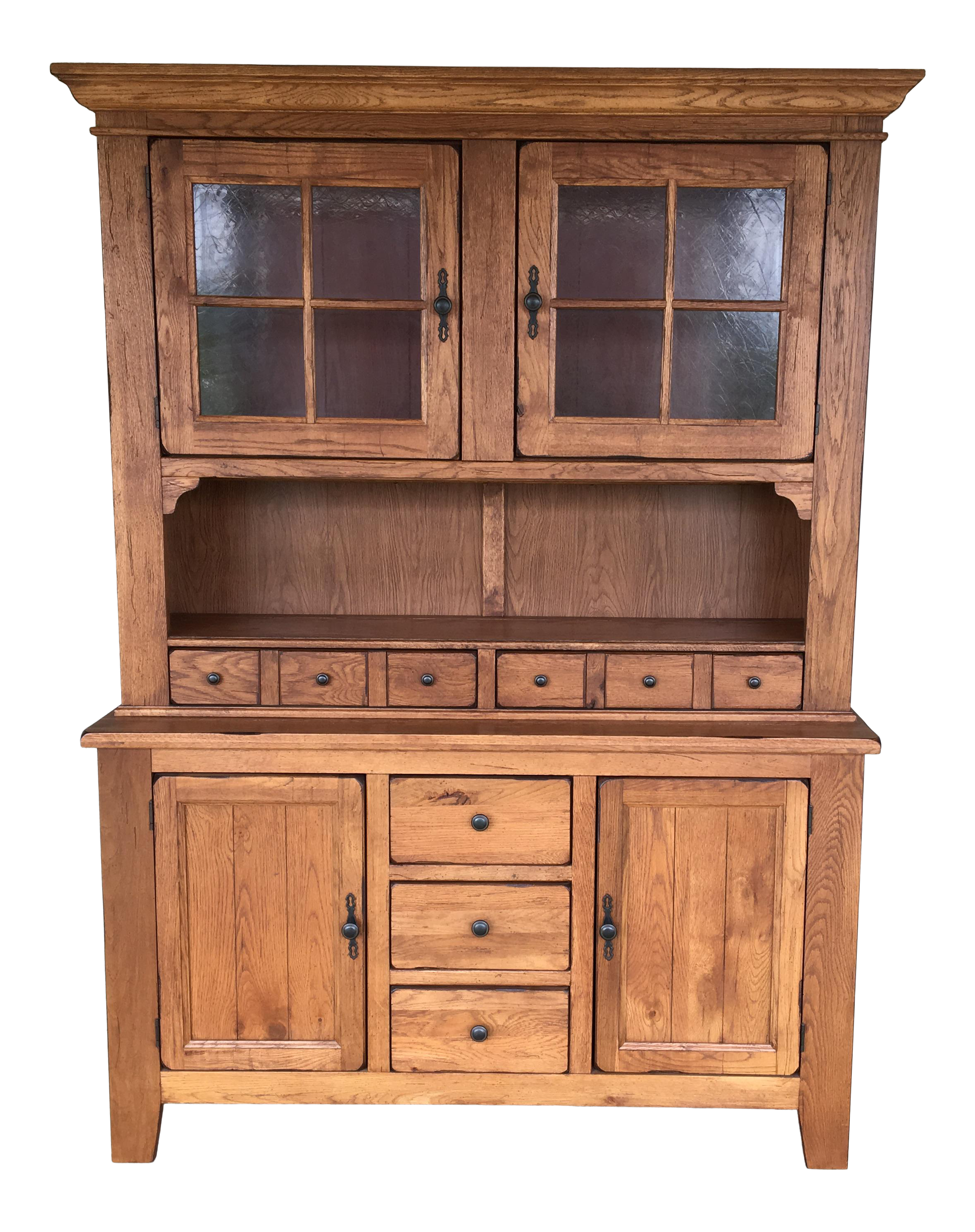 Picture of: Broyhill Attic Heirlooms 2 Piece Lighted Oak Hutch Chairish