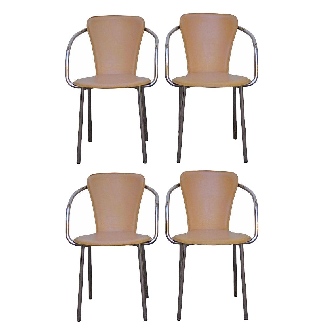 Italian Chrome Leather Dining Chairs Set Of 4 Chairish