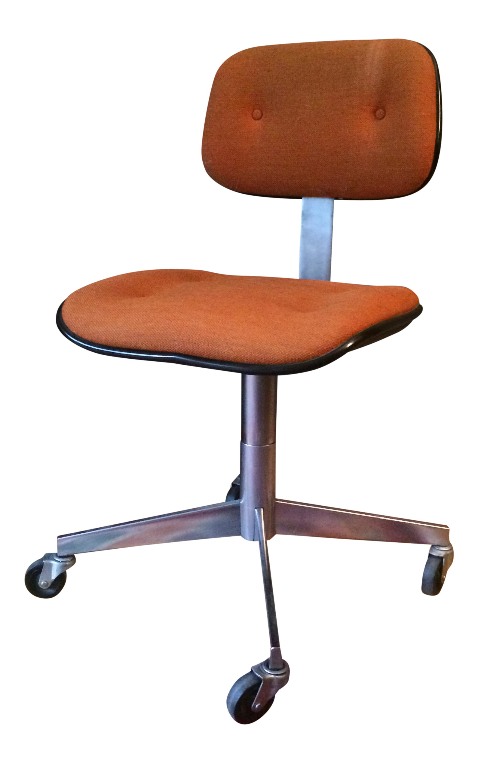 Vintage Steelcase Orange Wool Rolling Office Chair Chairish