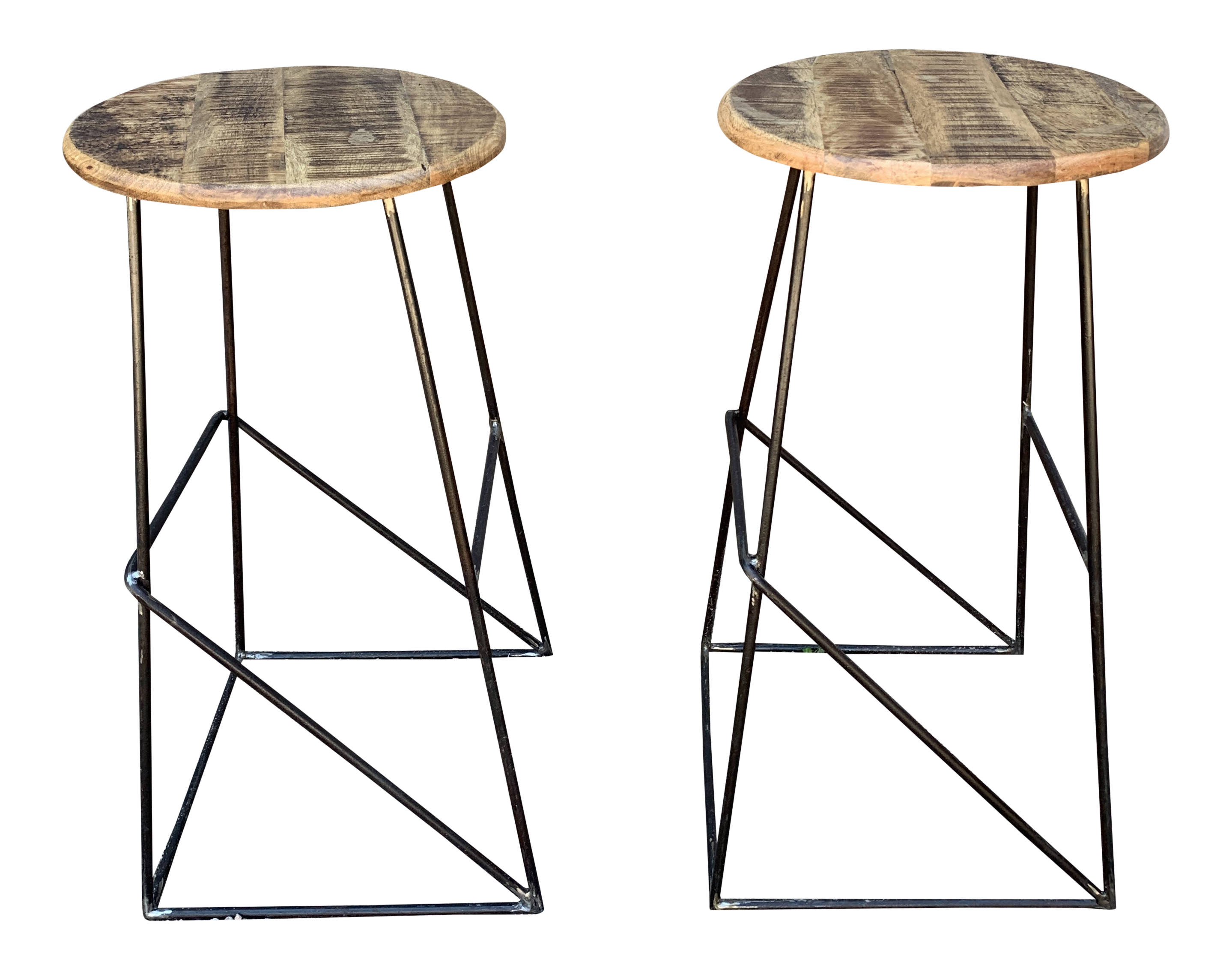 Modern Kalalou Rustic Wood And Metal Bar Stools A Pair Chairish