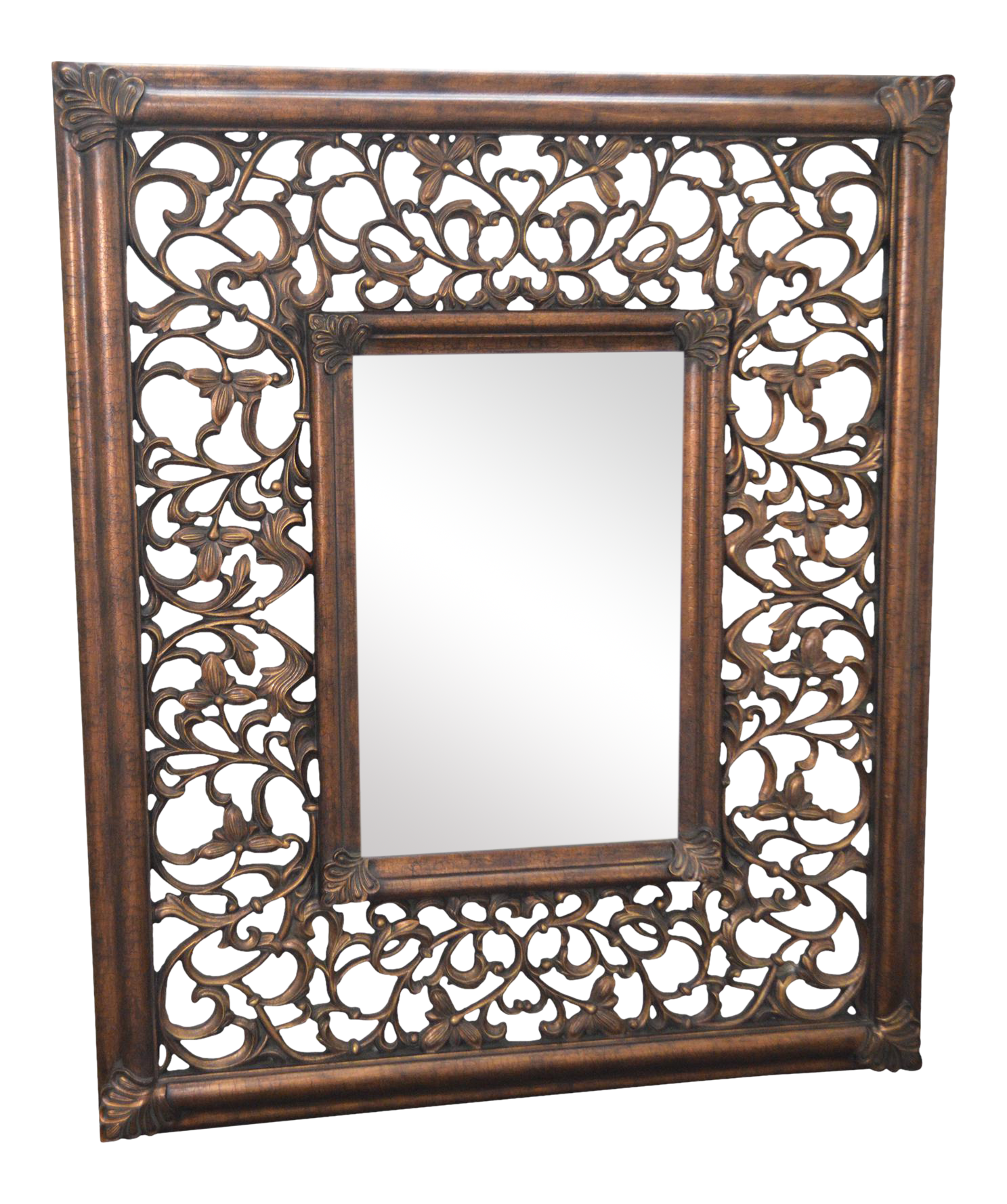 Large Baroque Style Carved Frame Beveled Wall Mirror | Chairish