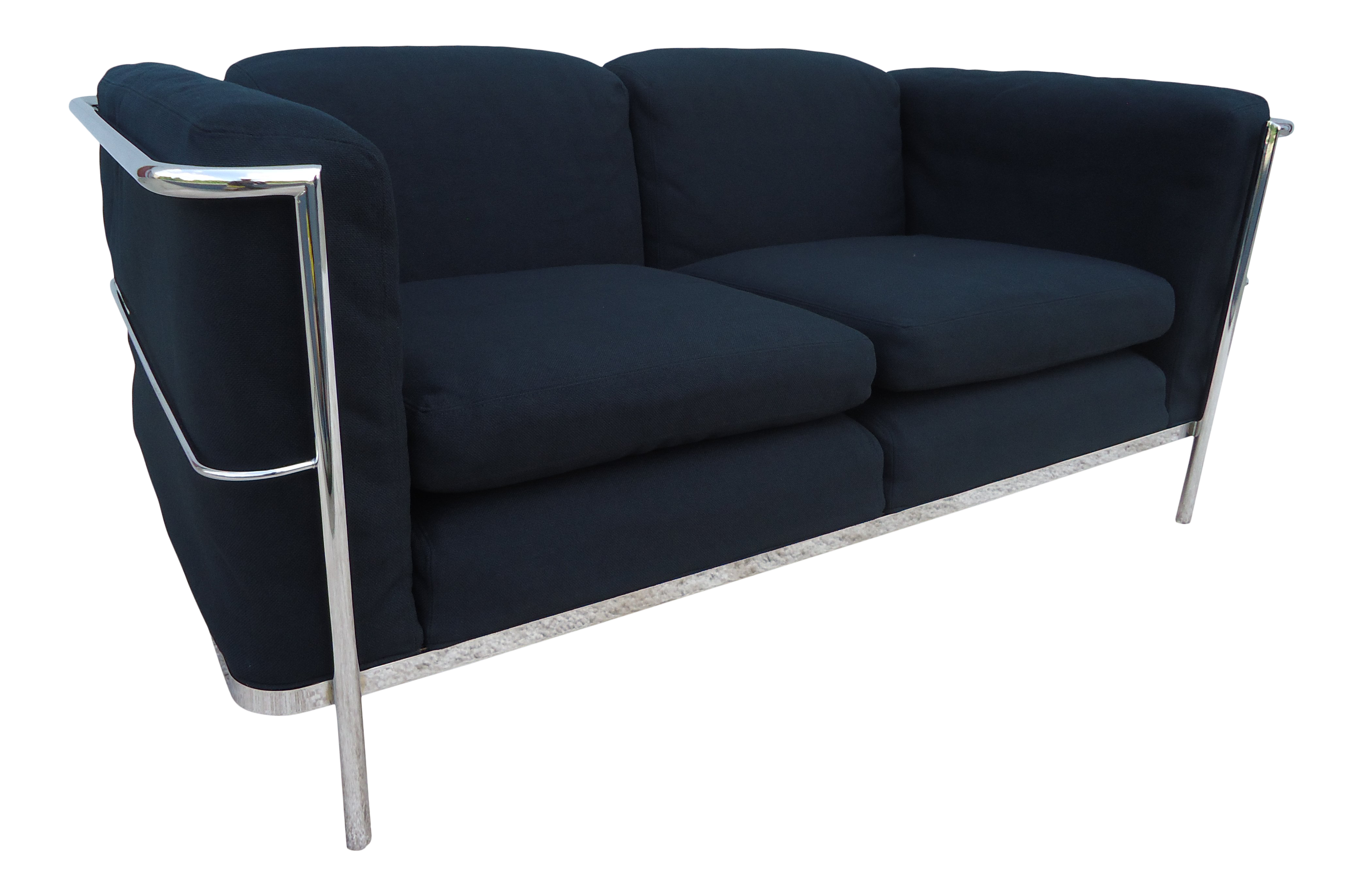 Awesome 1928 Vintage Jack Cartwright Le Corbusier Lc2 Style Black Loveseat Settee Machost Co Dining Chair Design Ideas Machostcouk