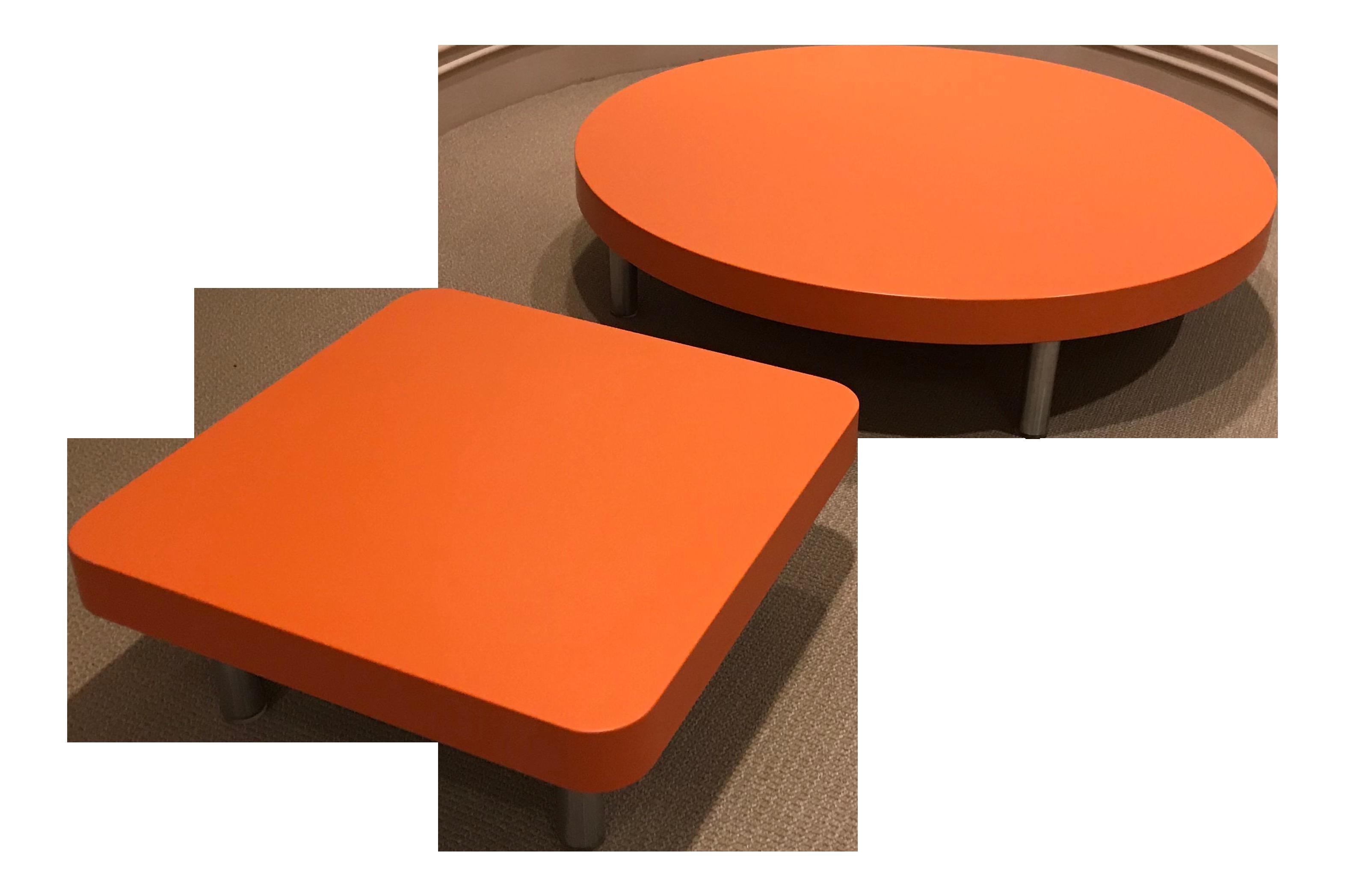 Modern orange coffee tables a pair chairish for Orange coffee table