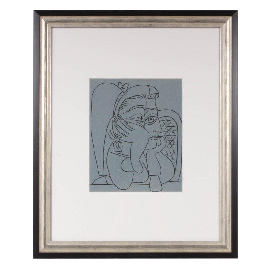 1962 Woman Leaning On Her Elbows Color Linoleum Cut Drawing By Pablo Picasso Chairish
