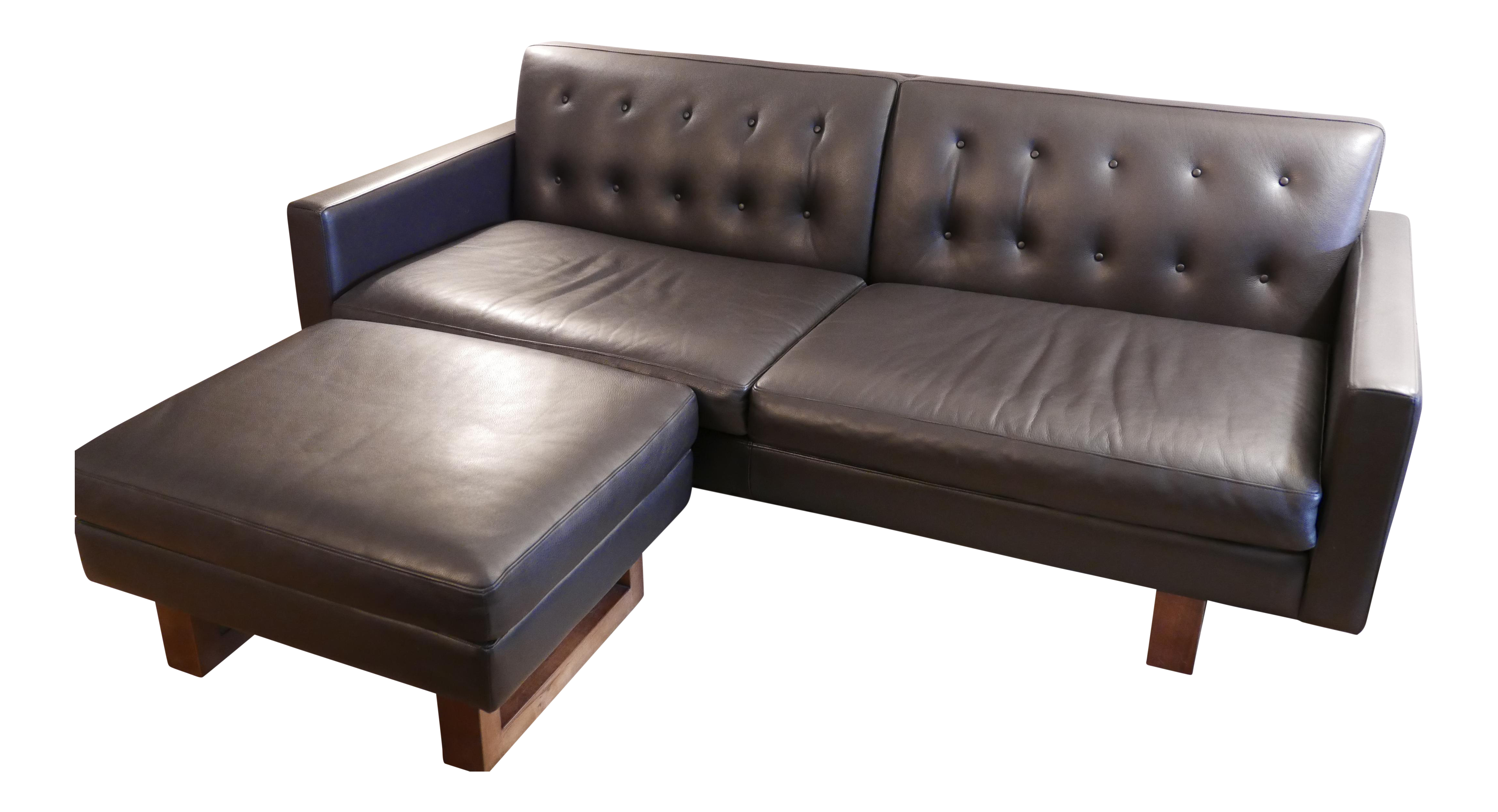 Room and board wells leather sofa ottoman a pair chairish