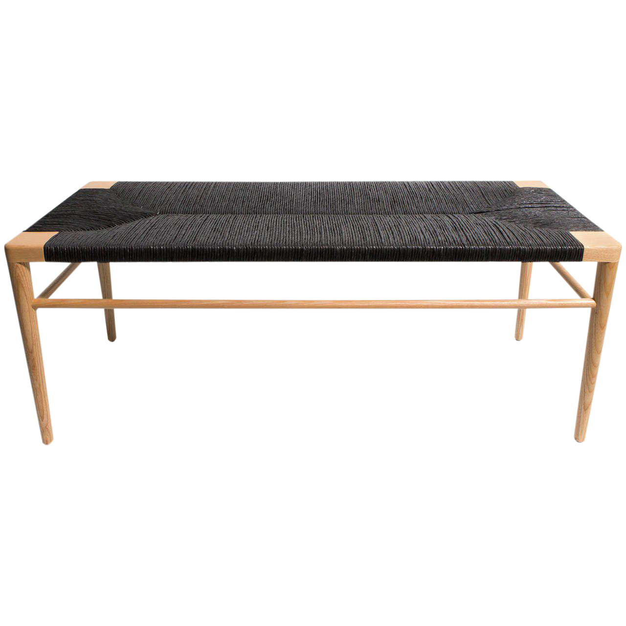 Luxury Solid Ash Frame Bench With Hand Woven Black Rush