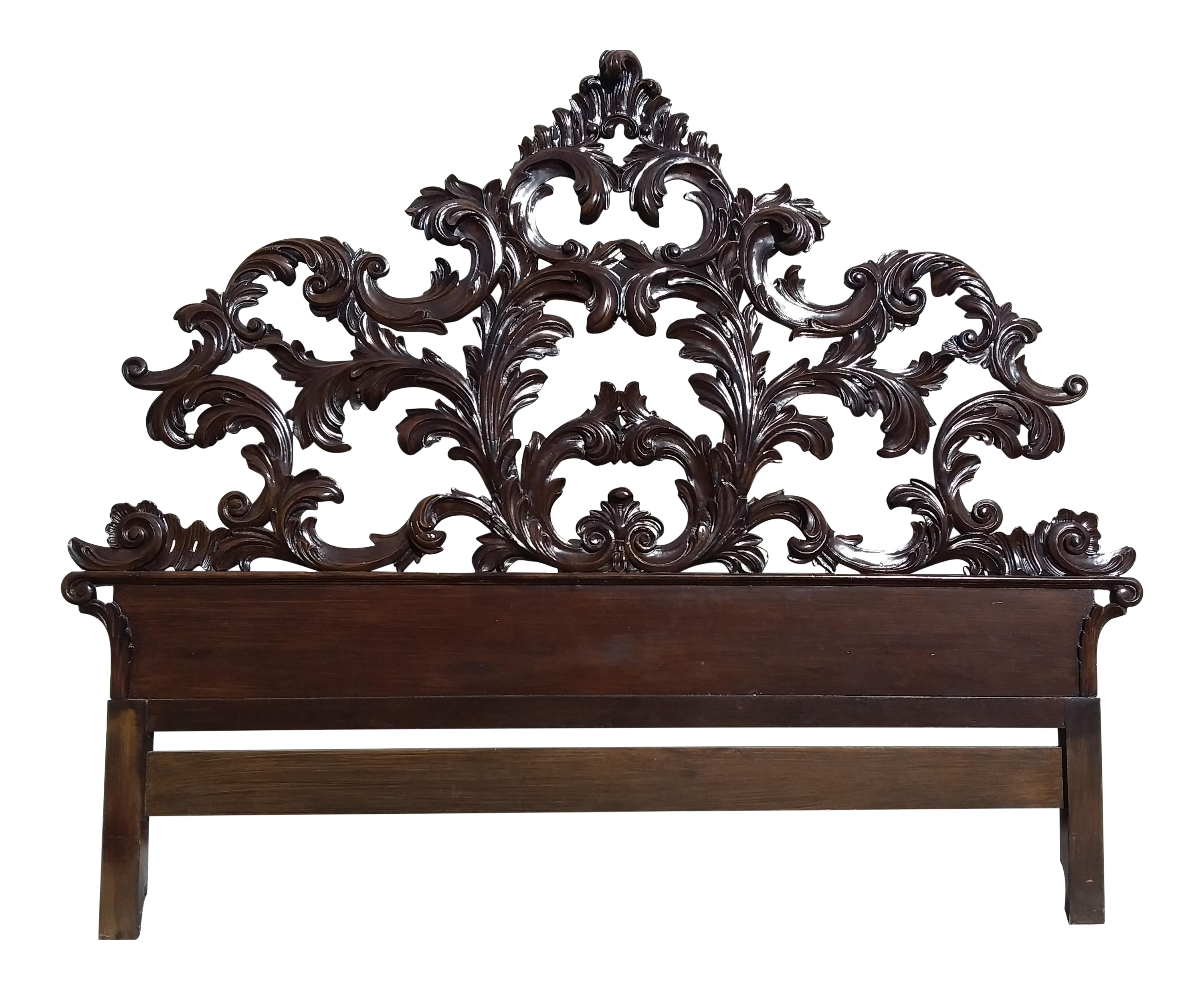 mid 20th century italian carved wood king size headboard