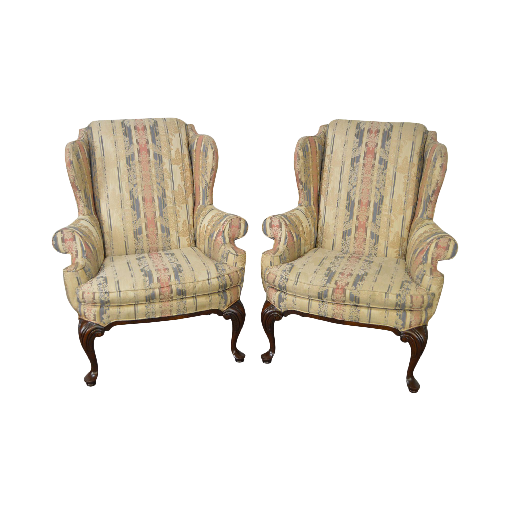 Drexel Heritage Mahogany Frame Queen Anne Style Wing Chairs - A Pair ...