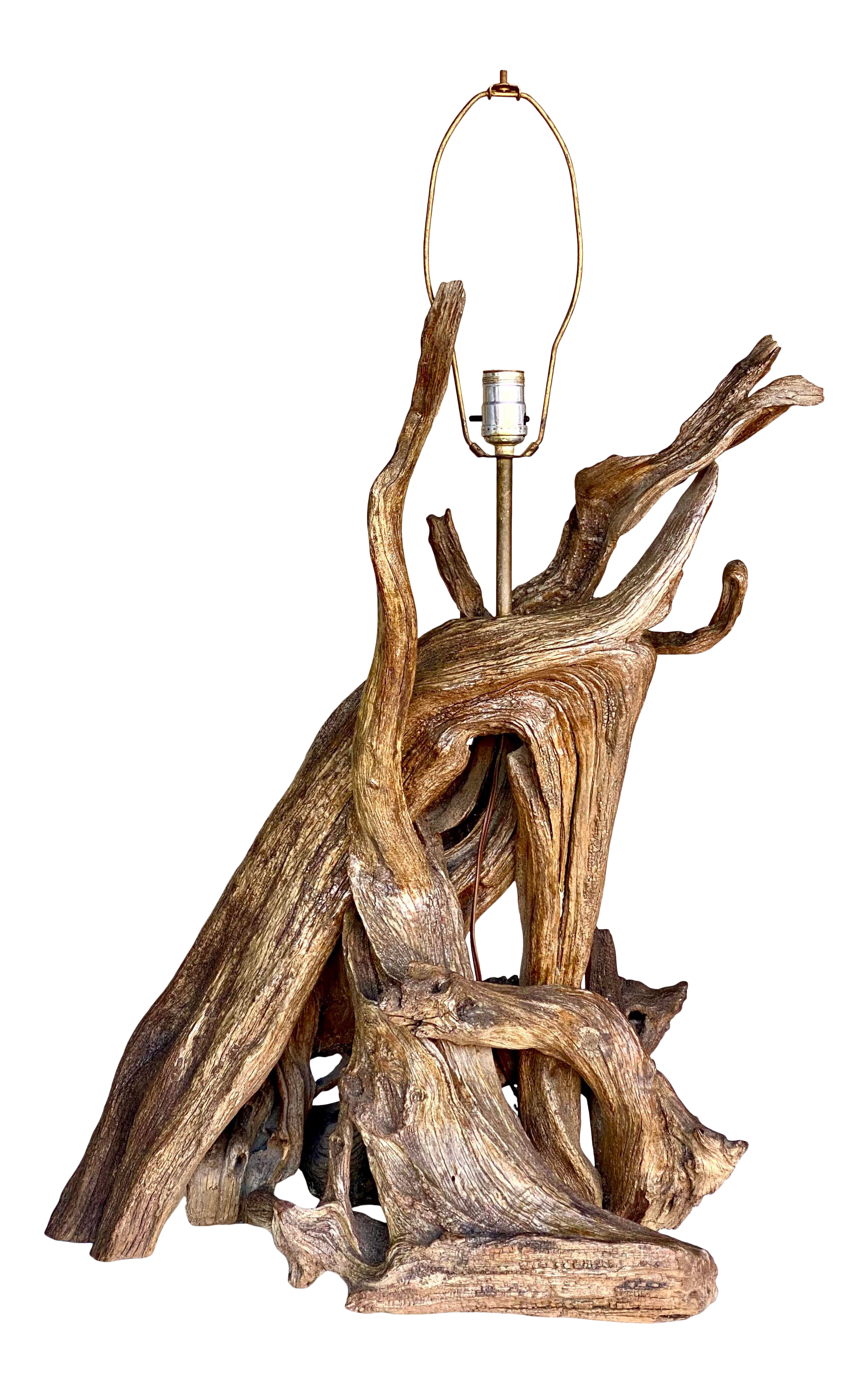 Monumental Vintage Boho Driftwood Table Lamp Chairish