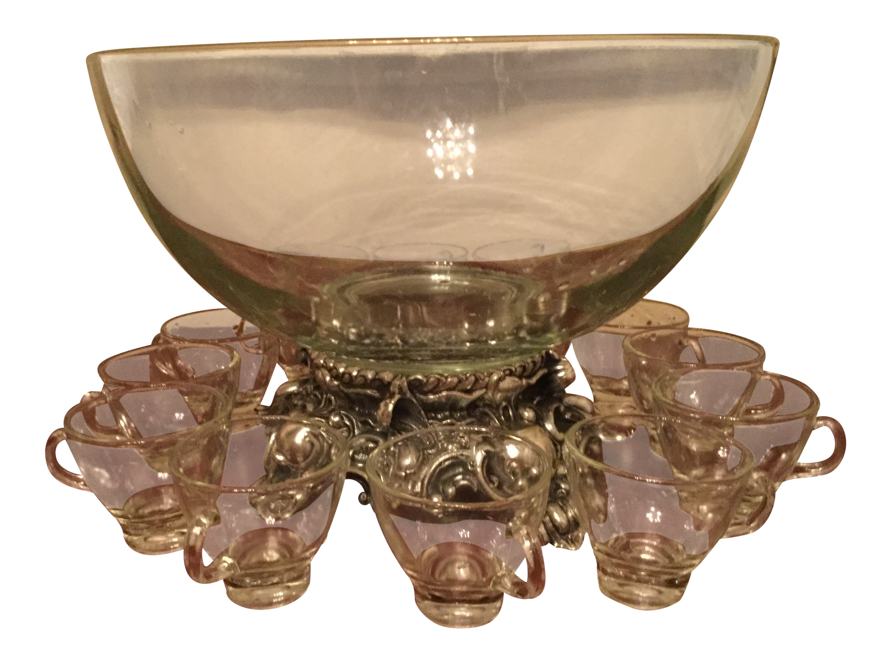Pitman dreitzer silver elegance punch bowl set set of 13 chairish
