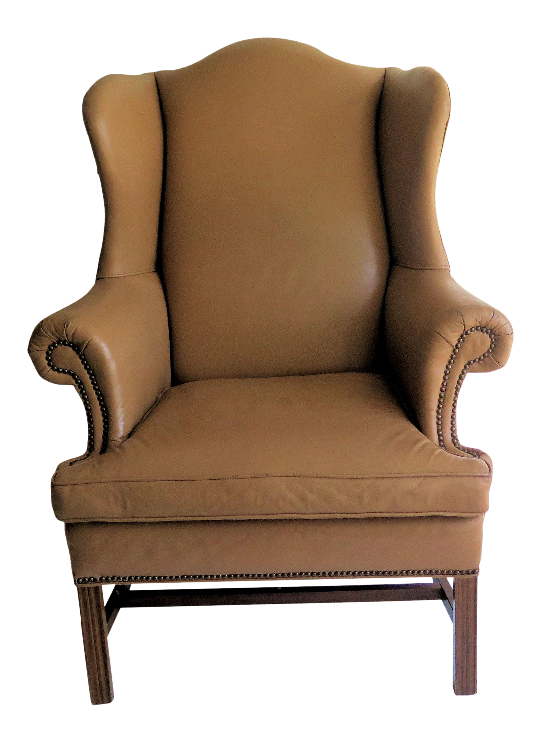 Edward Wormley Style Leather Queen Anne Wingback Chair