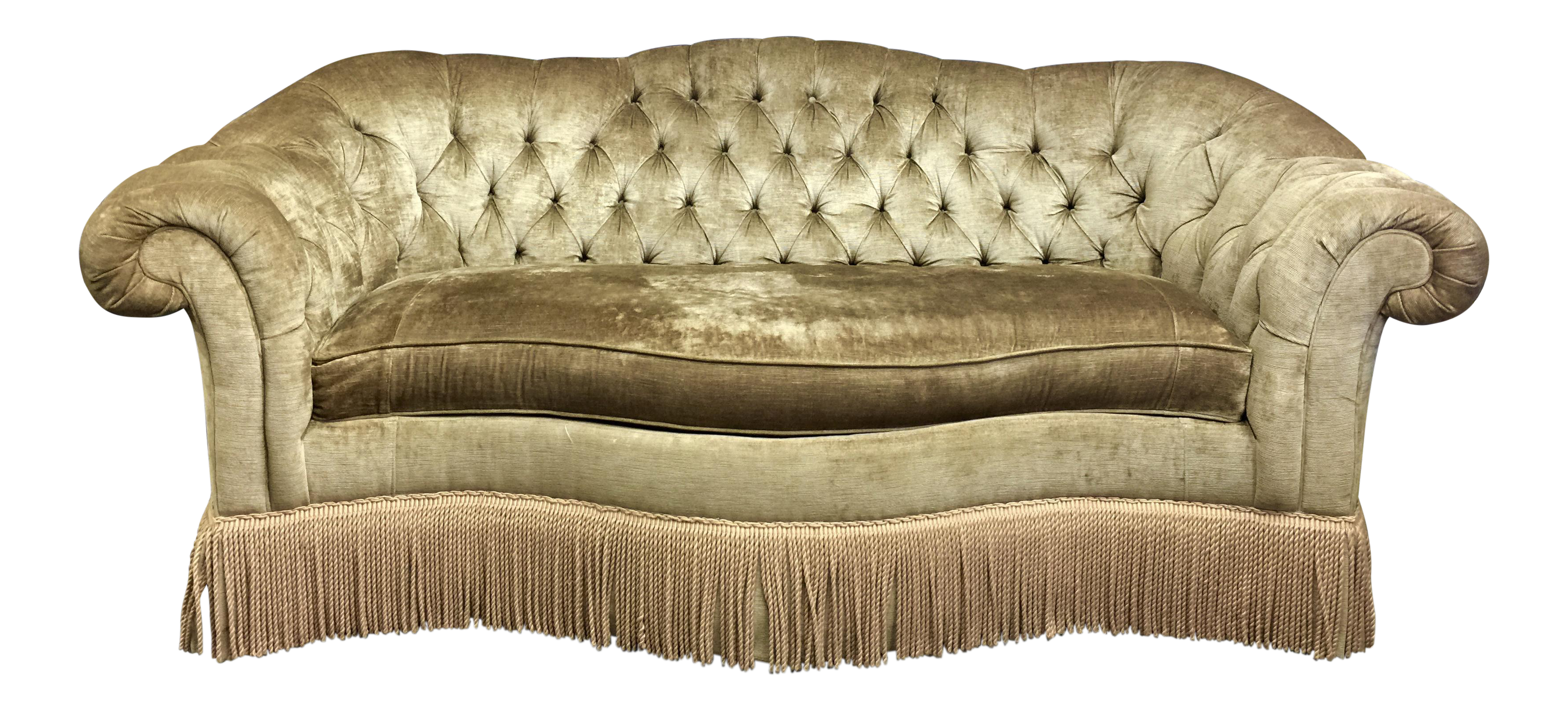 Tufted Velvet Chesterfield Sofa With Fringe By Century