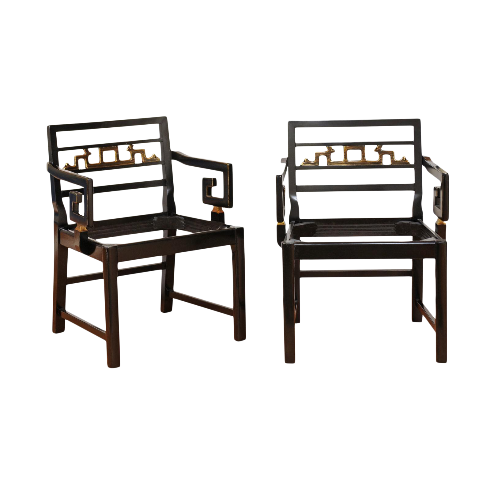 Incredible Exquisite Pair Of Modern Chinoiserie Greek Key Armchairs