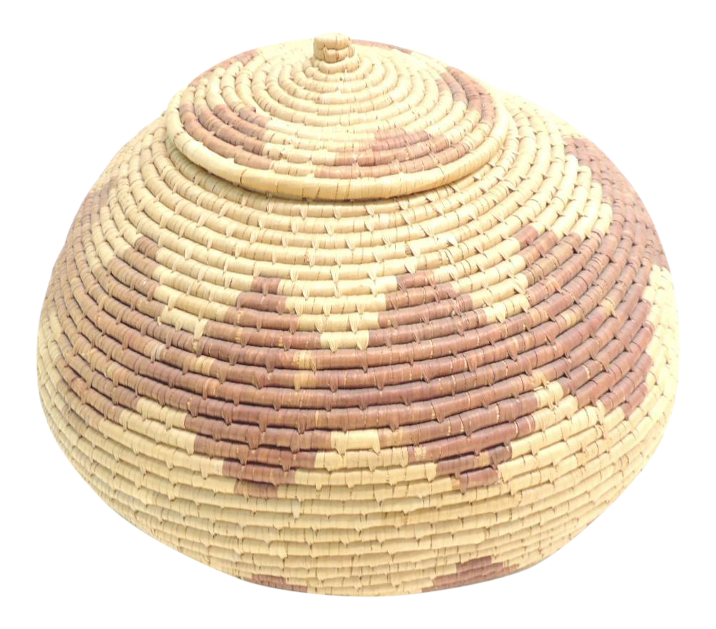 Vintage African Round Woven Basket with Lid | Chairish