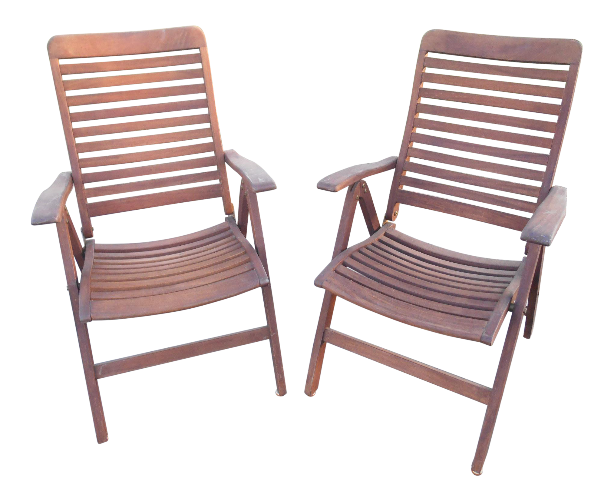 1980s Vintage Grade A Teak Wood Reclining Dining Folding Arm Chairs  A Pair  | Chairish