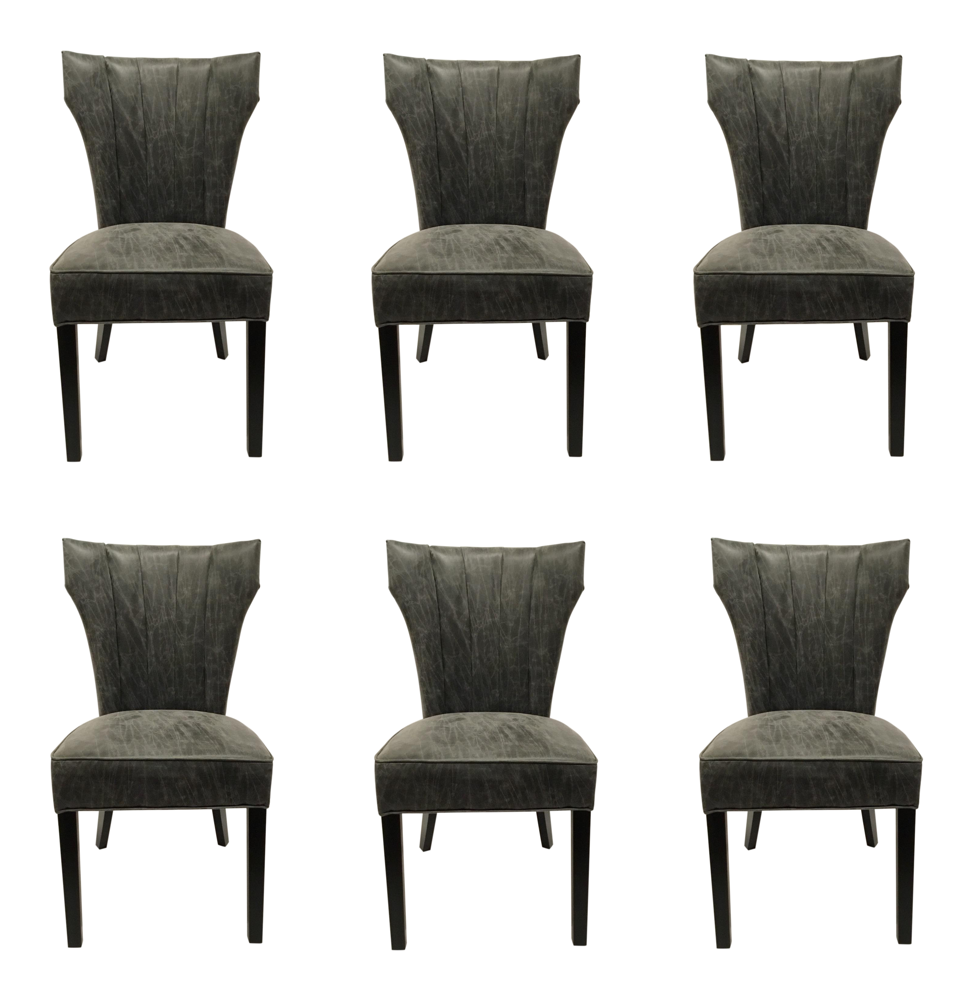 Swell Dark Gray Distressed Leather Dining Chairs Set Of Six Gmtry Best Dining Table And Chair Ideas Images Gmtryco