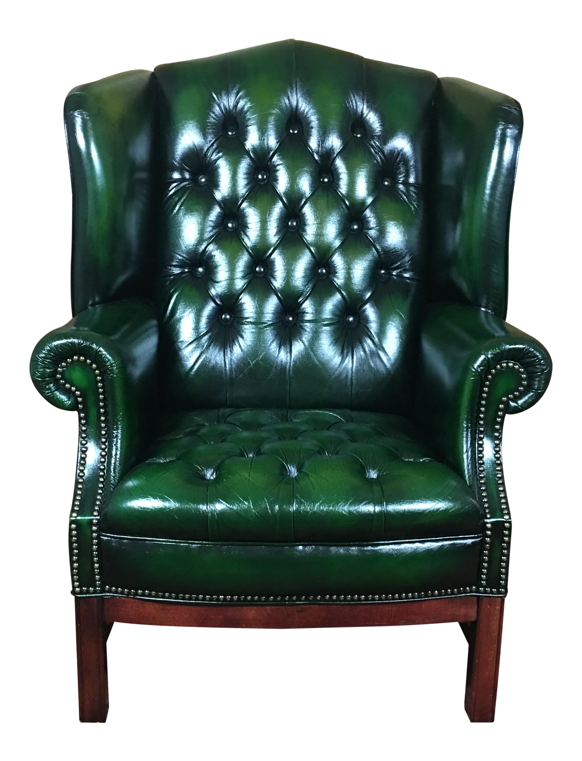 Sensational Vintage 20Th Century English Traditional Green Leather Tufted Wingback Chair Gmtry Best Dining Table And Chair Ideas Images Gmtryco