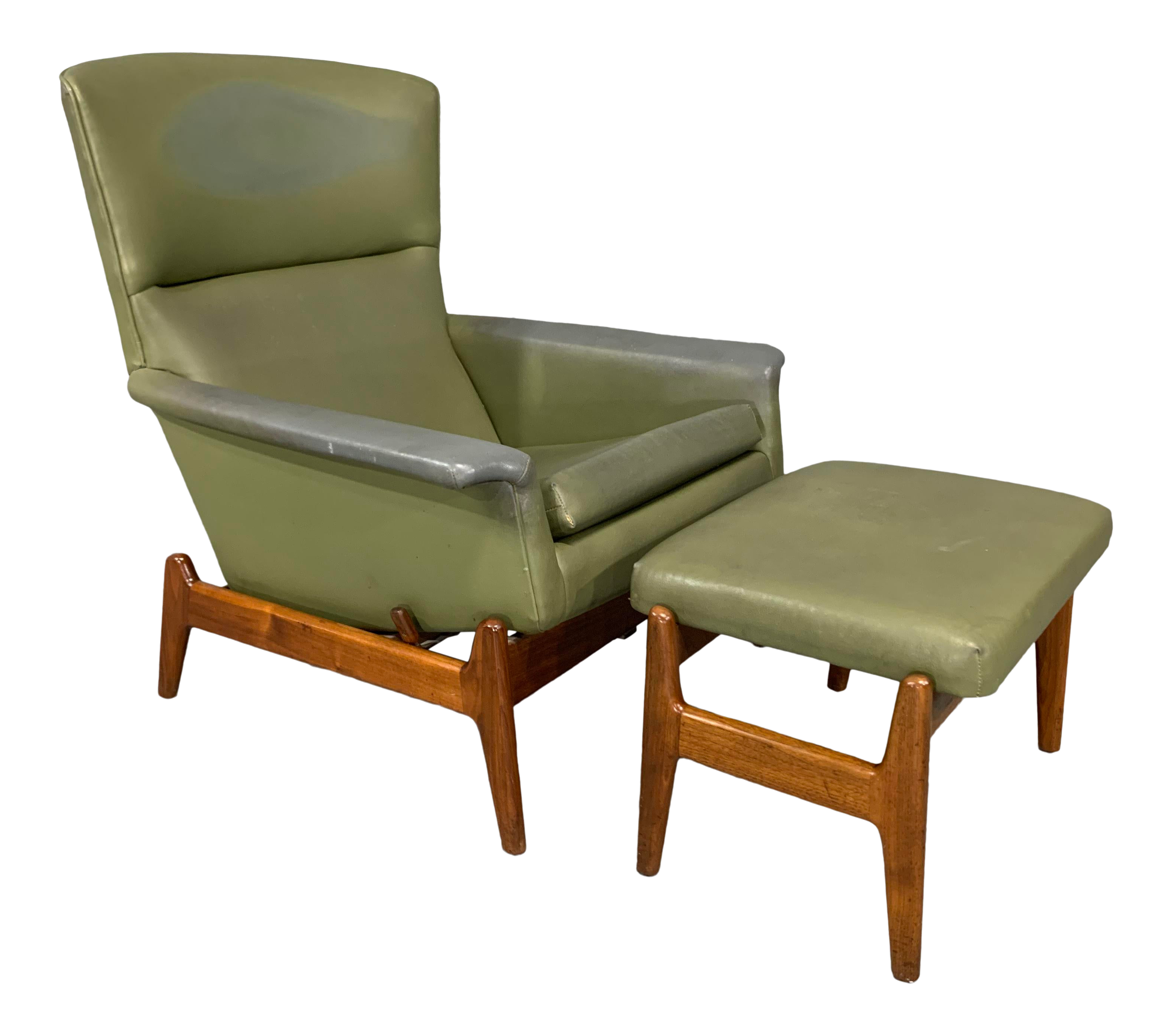 Picture of: Mid Century Modern Recliner And Ottoman By Folke Ohlsson For Dux In Teak A Pair Chairish