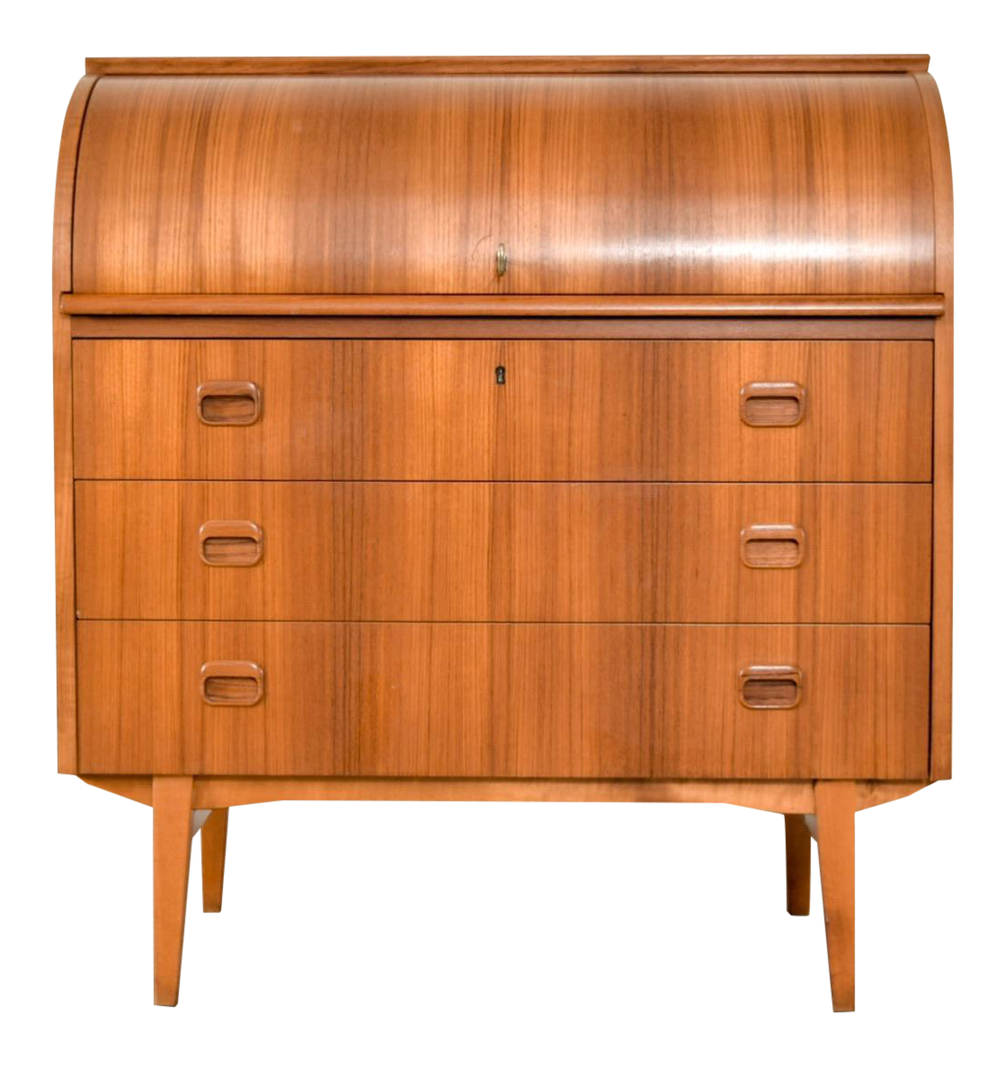 Mid Century Egon Ostergaard Cylinder Rolltop Secretary Desk, Made in Sweden - Vintage & Antique Rolltop Desks Chairish