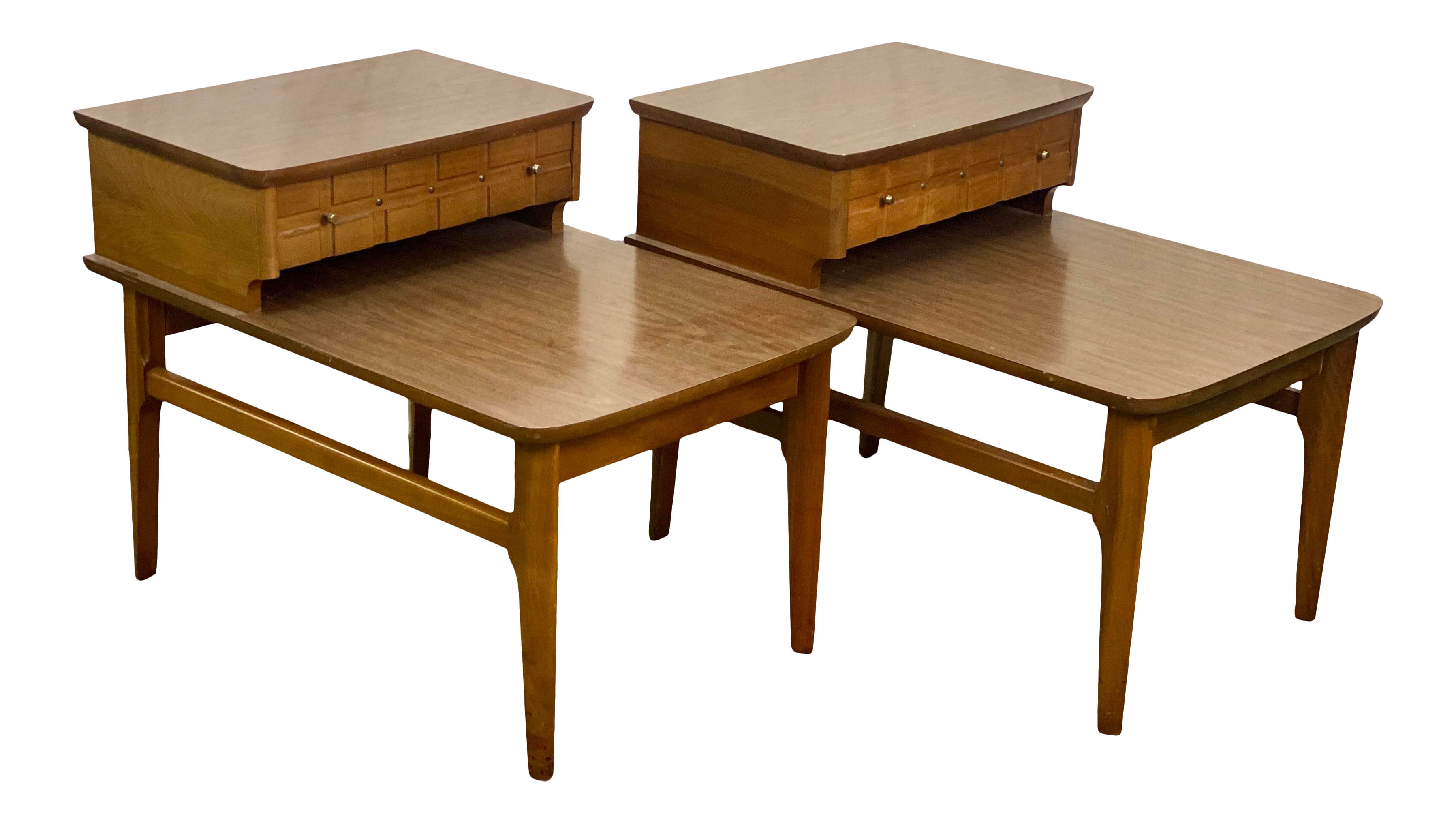 Image of: Vintage Walnut Mersman Mid Century Modern 2 Tier End Tables Chairish
