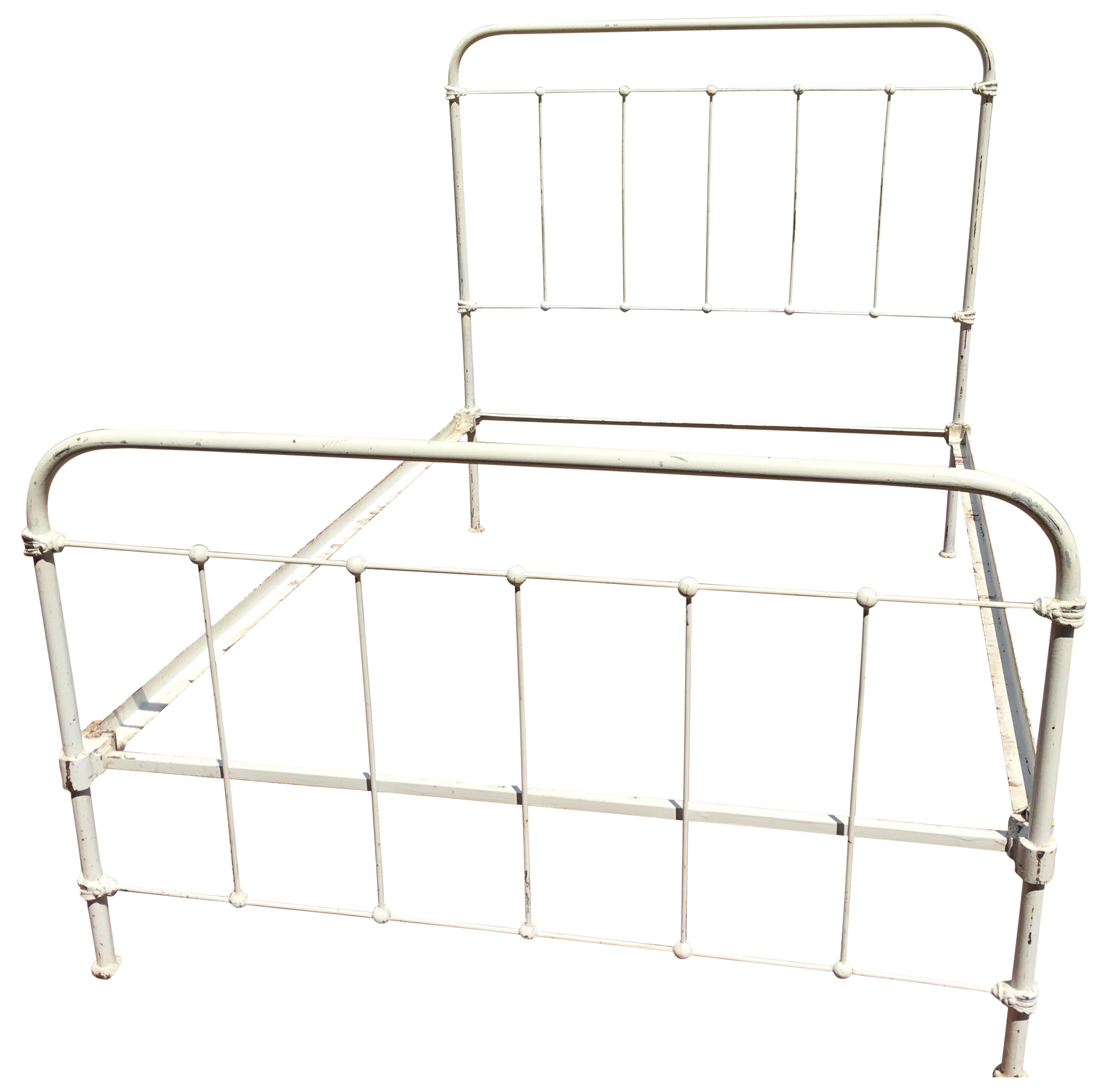 Vintage Shabby Chic Wrought Iron Bed Frame