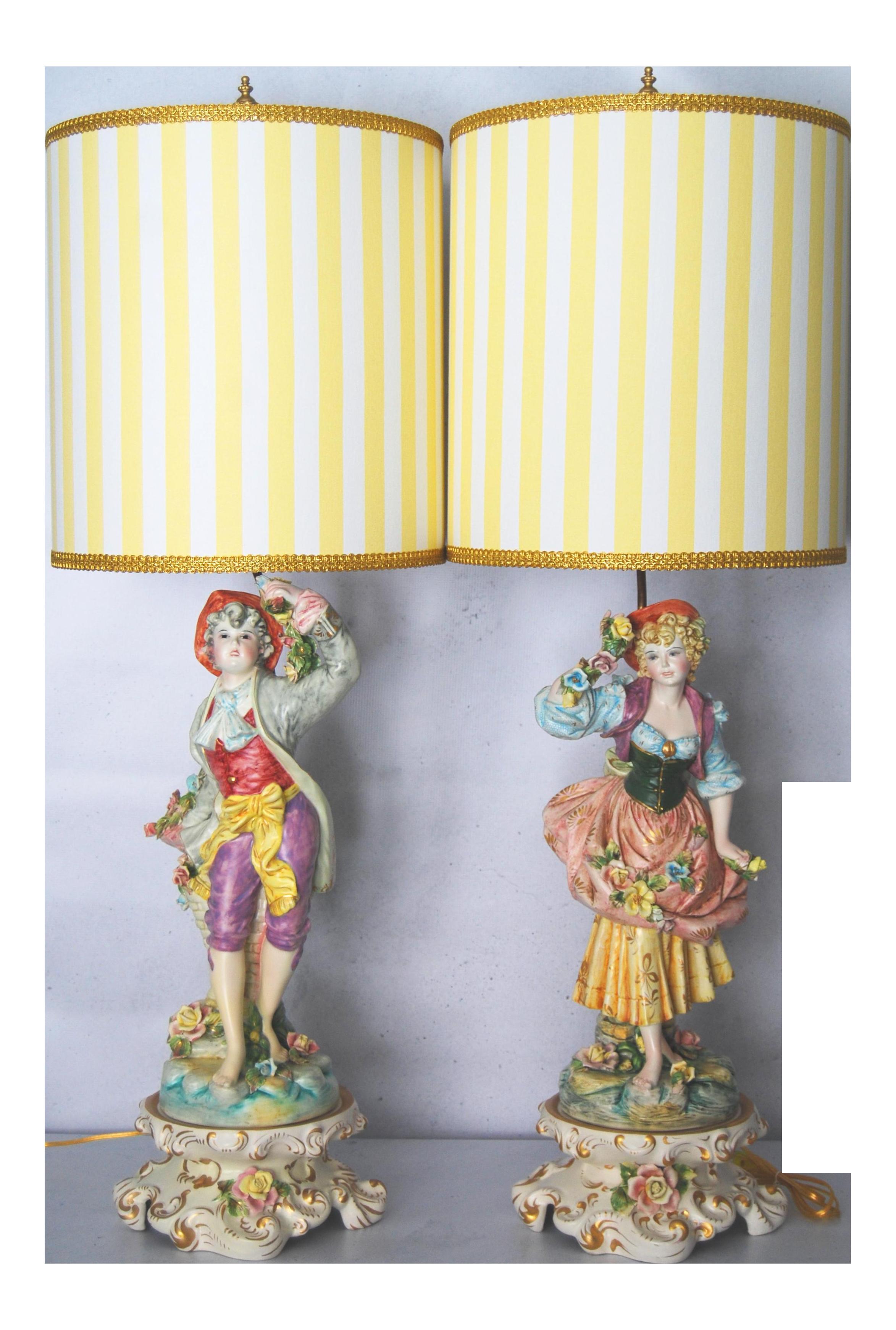 Vintage Benrose Capodimonte Lamps W/ Custom Shades - Fully Restored ...