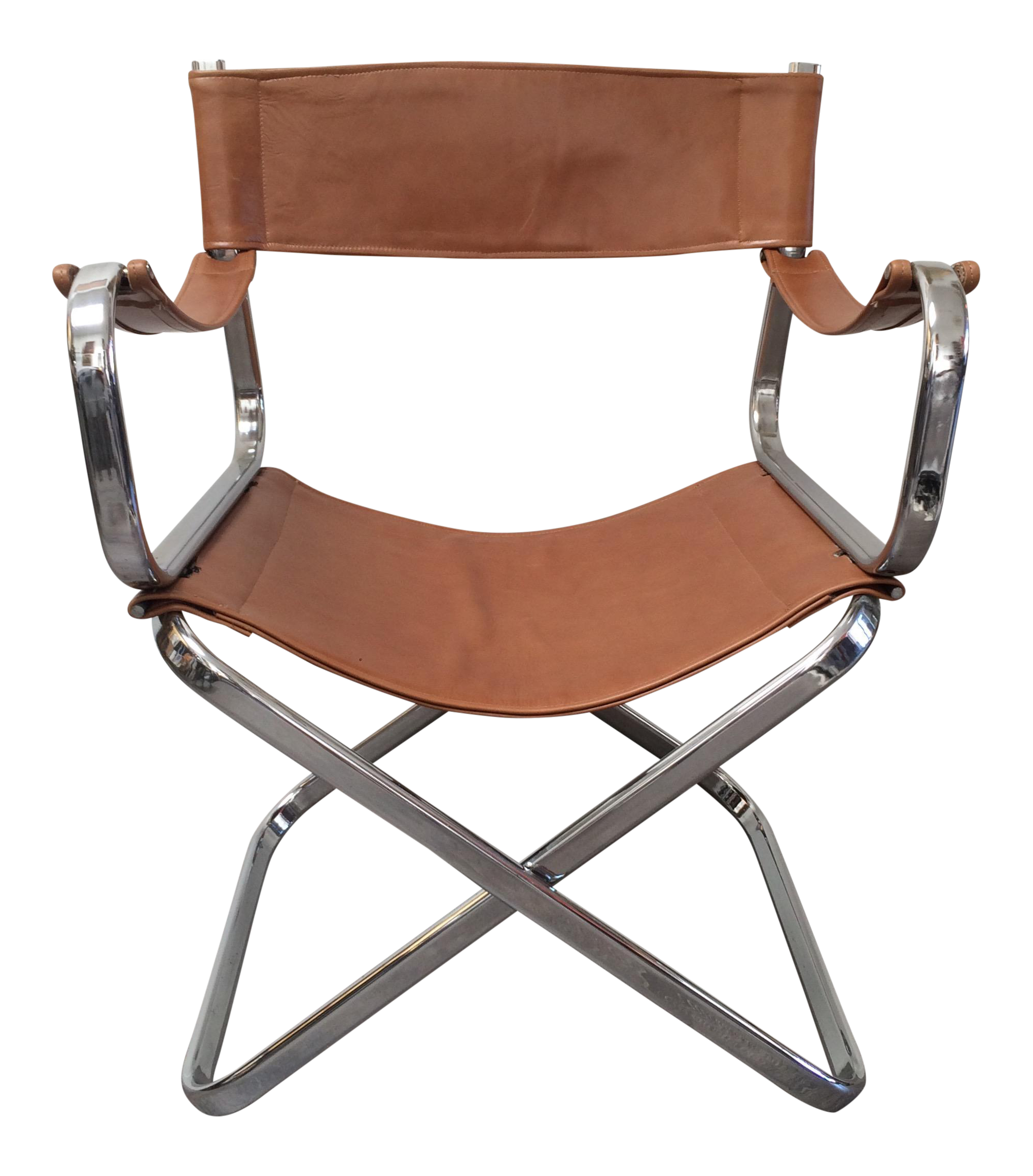Italian Chrome Leather Folding Chair by Arrben