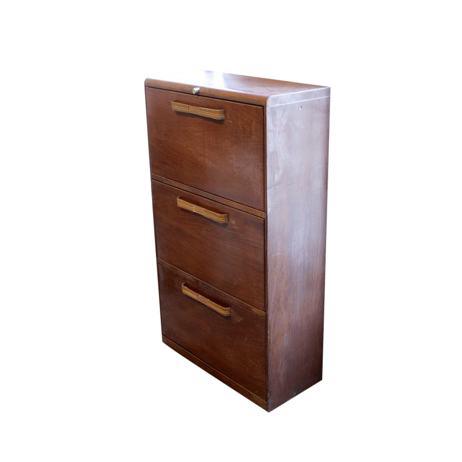 Faux wood metal file cabinet chairish for Wood and metal cabinets