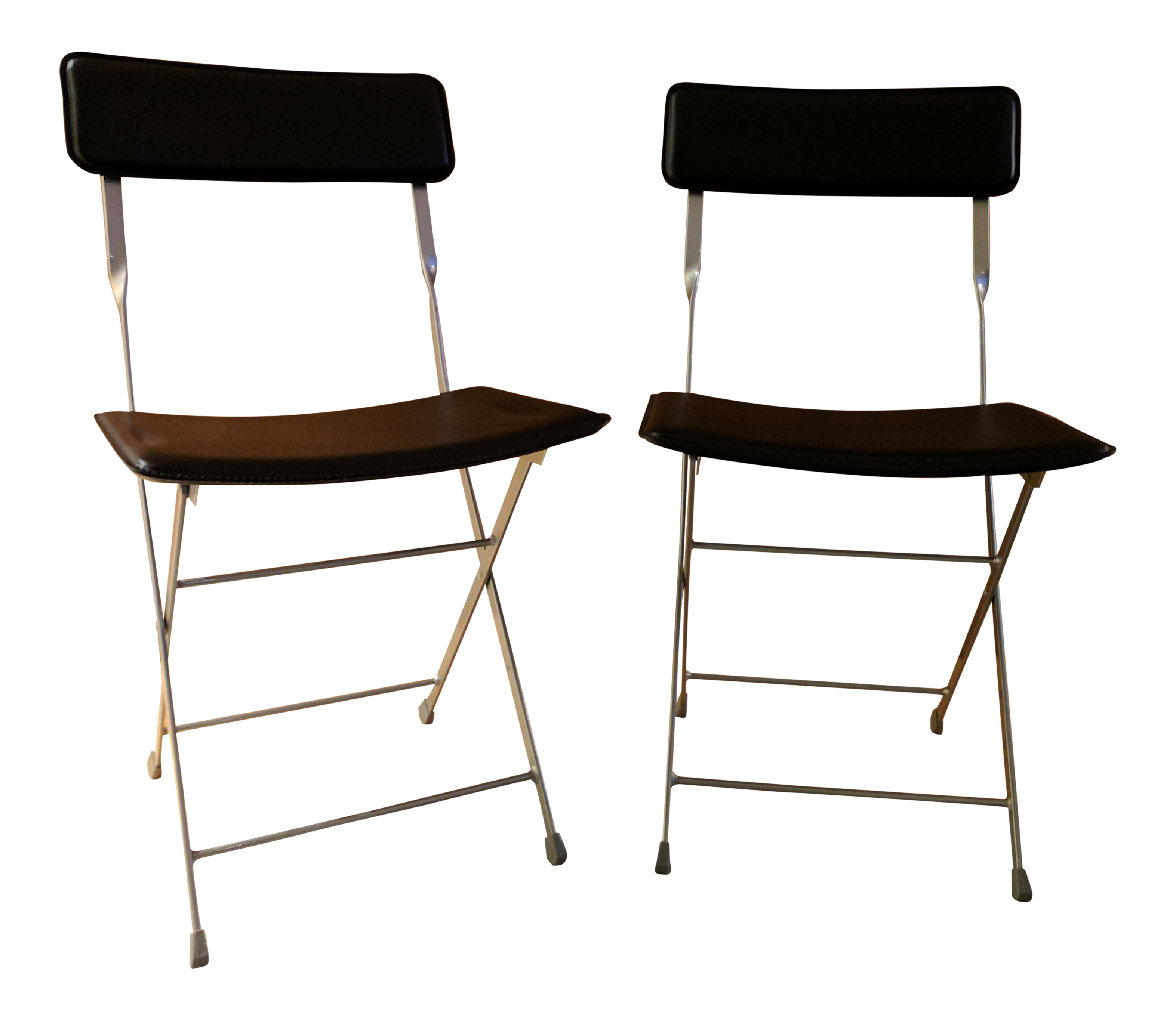 Lina Black Leather Folding Chairs A Pair
