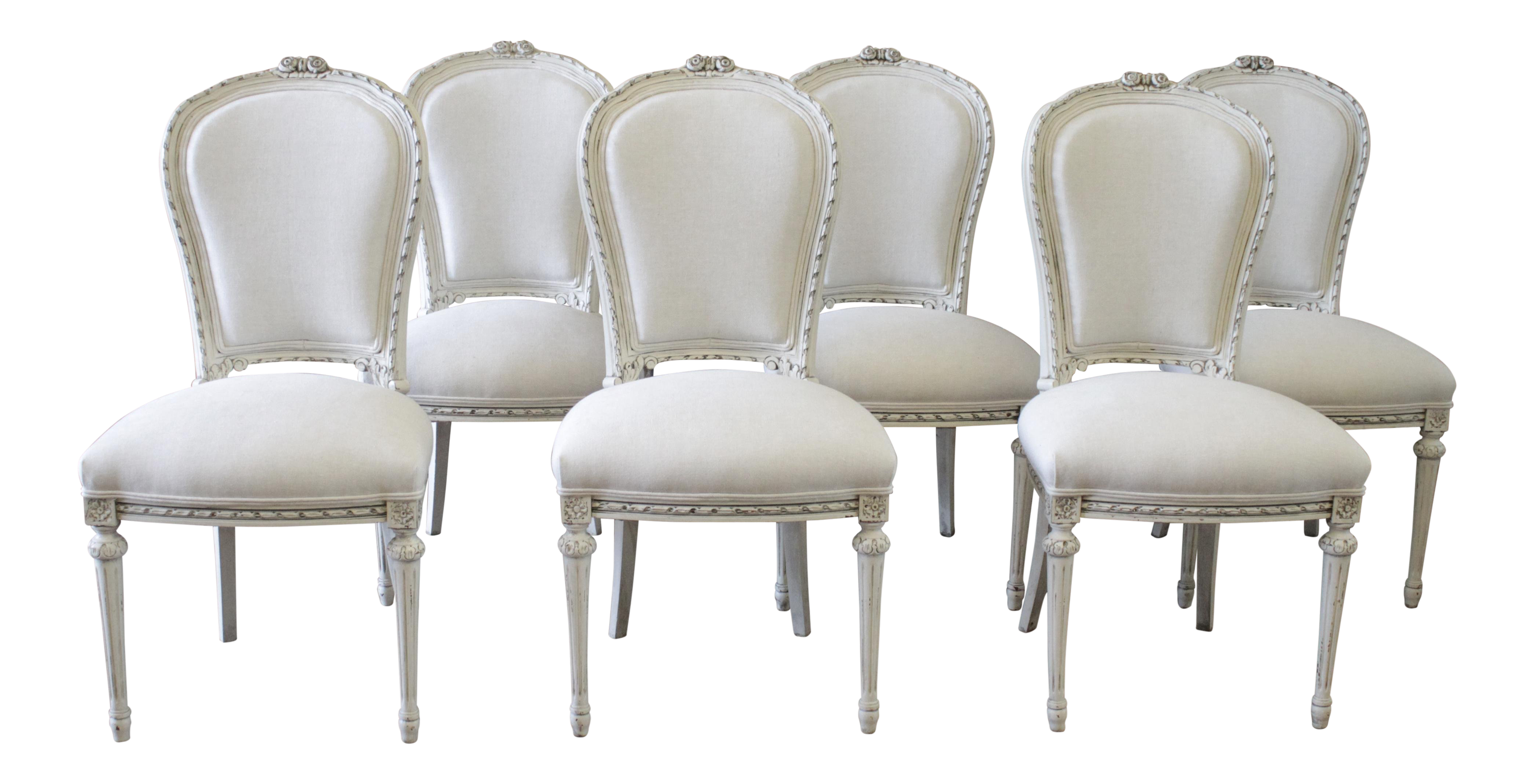 20th Century Louis Xvi Style Painted With Linen Upholstery Dining