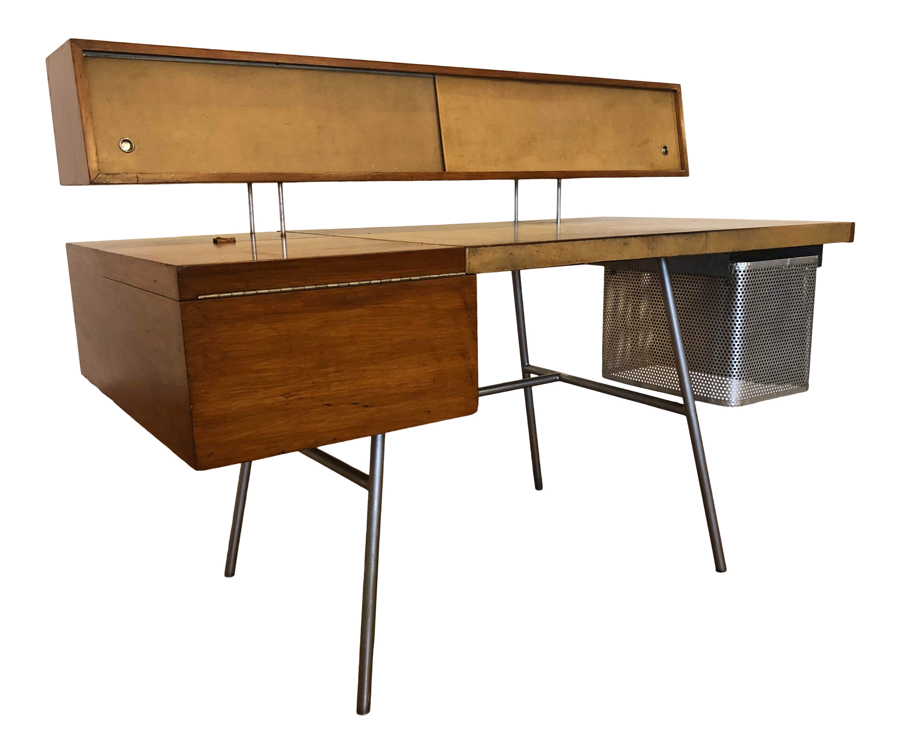 Image of: George Nelson For Herman Miller Walnut Steel And Leather Mid Century Desk Chairish