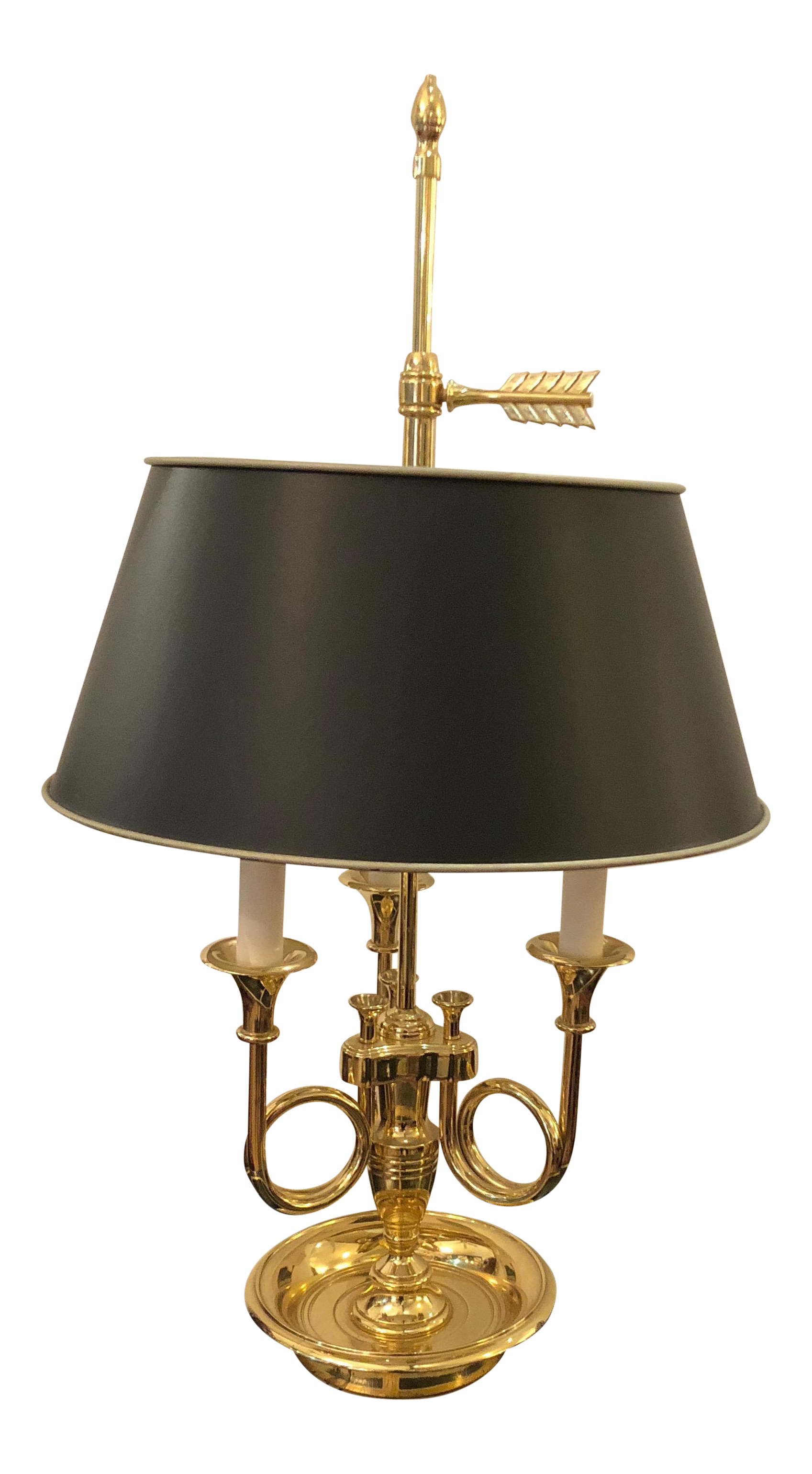 1980s Baldwin Brass Three Arm French Horn Motife Table Lamp Chairish