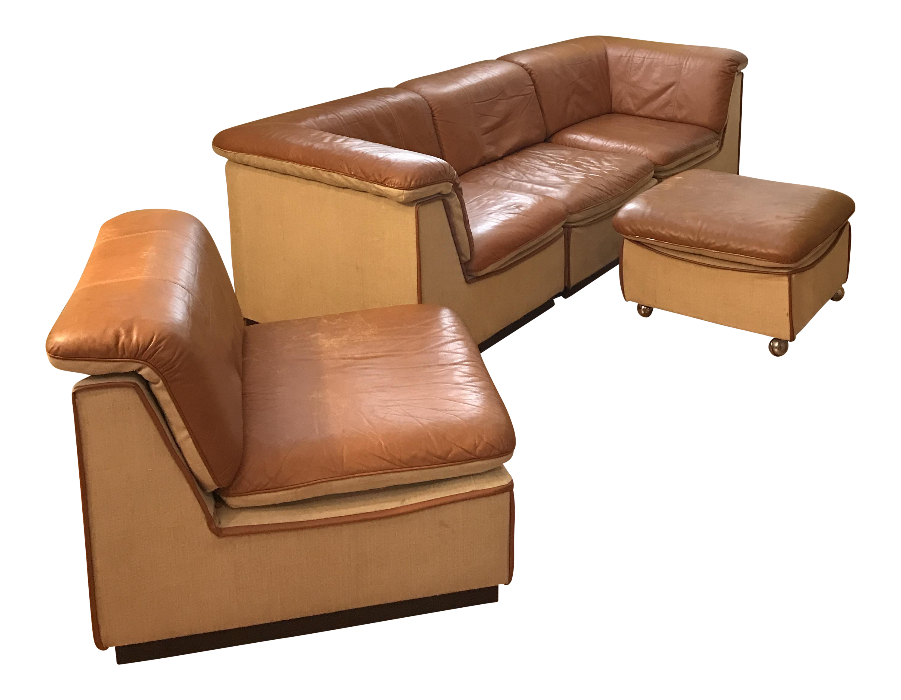 Vintage rapport brown leather sectional sofa set of 5 for Eurodesign brown leather 5 piece sectional sofa set