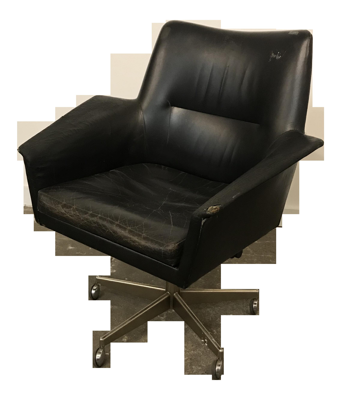 Mid Century Modern Adjustable Black Leather Office Chair By Erik