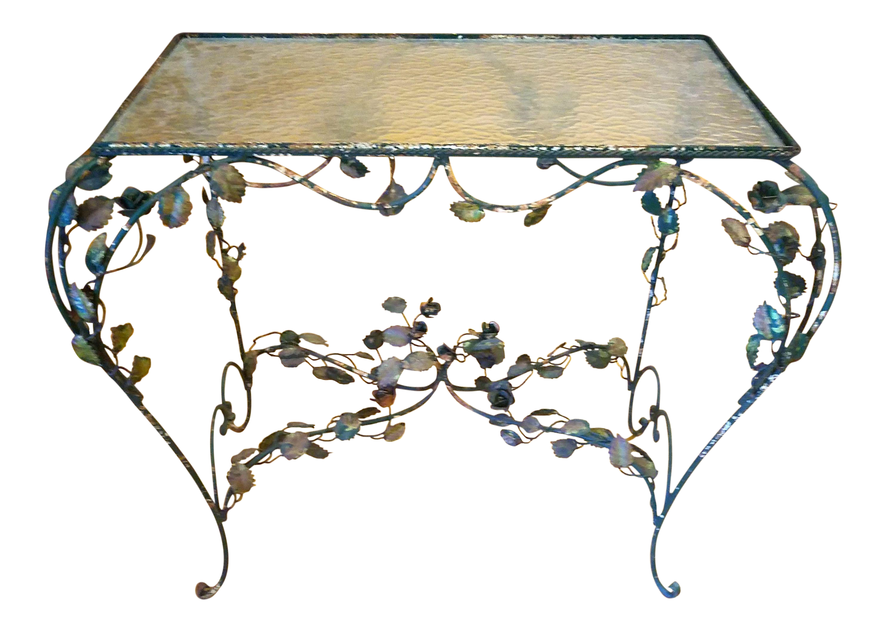 Vintage rose vine iron table chairish for Table and vine