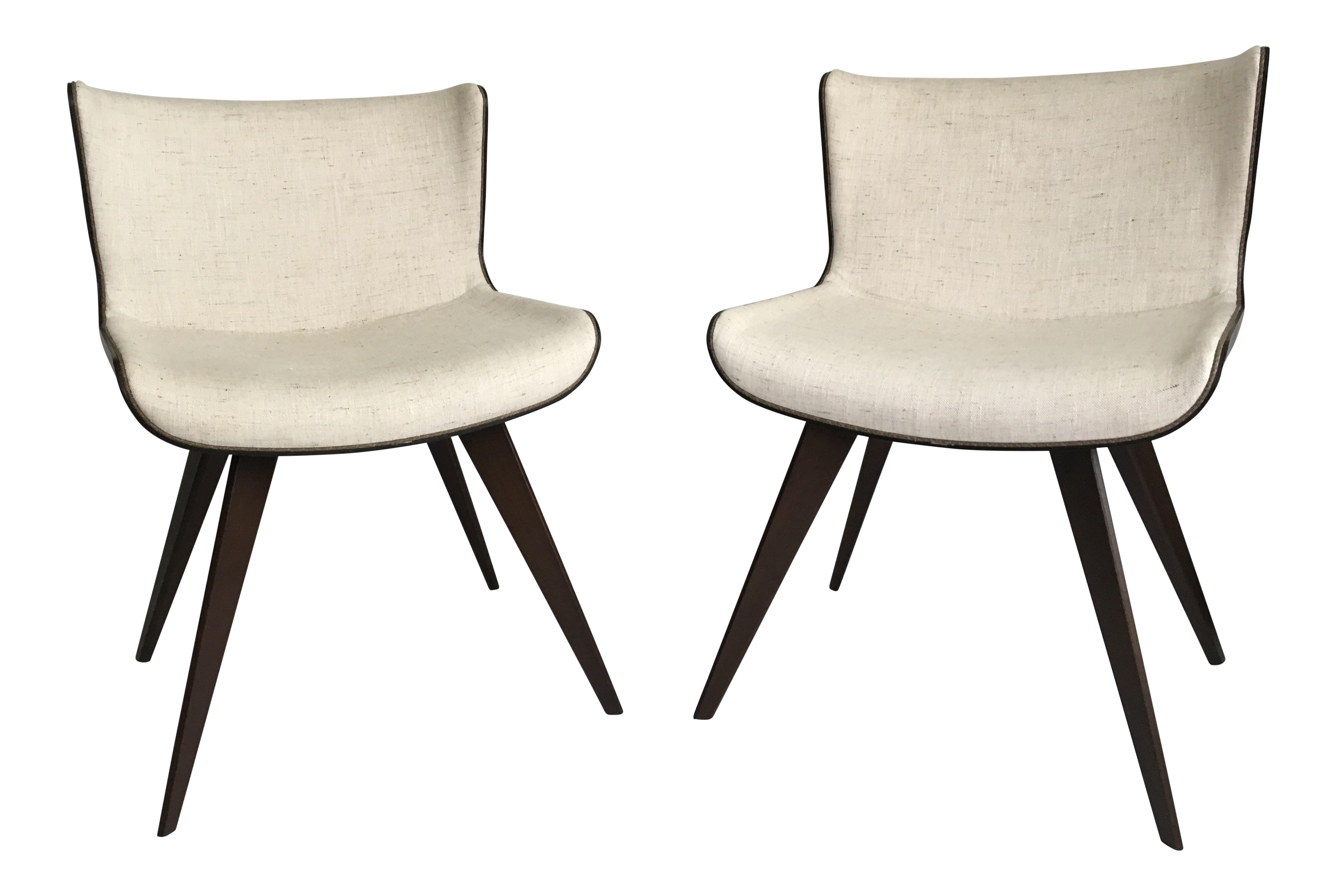 Mid century style wood wrapped accent chairs a pair chairish