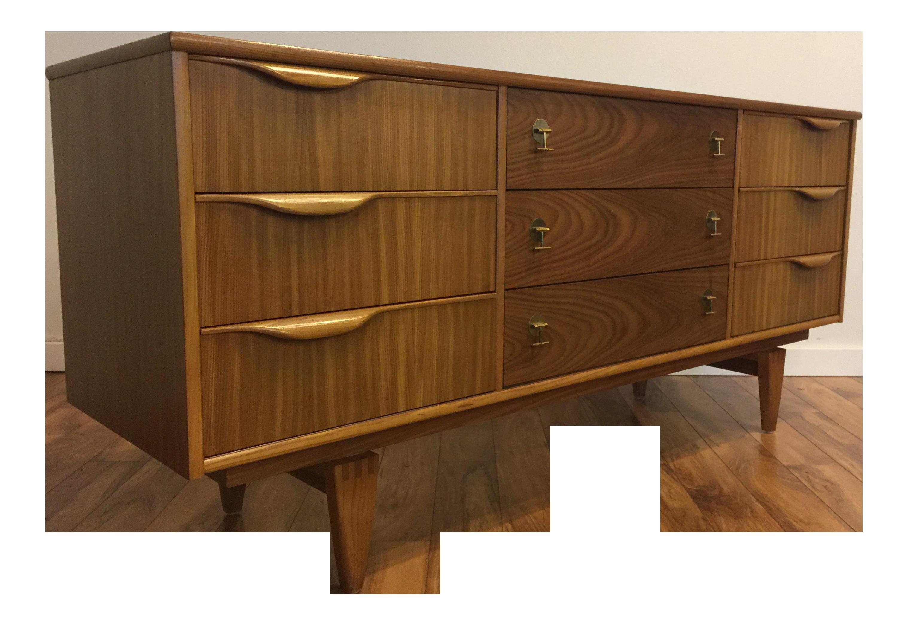 dresser saga broyhill mid century lowboy series walnut modern by epoch