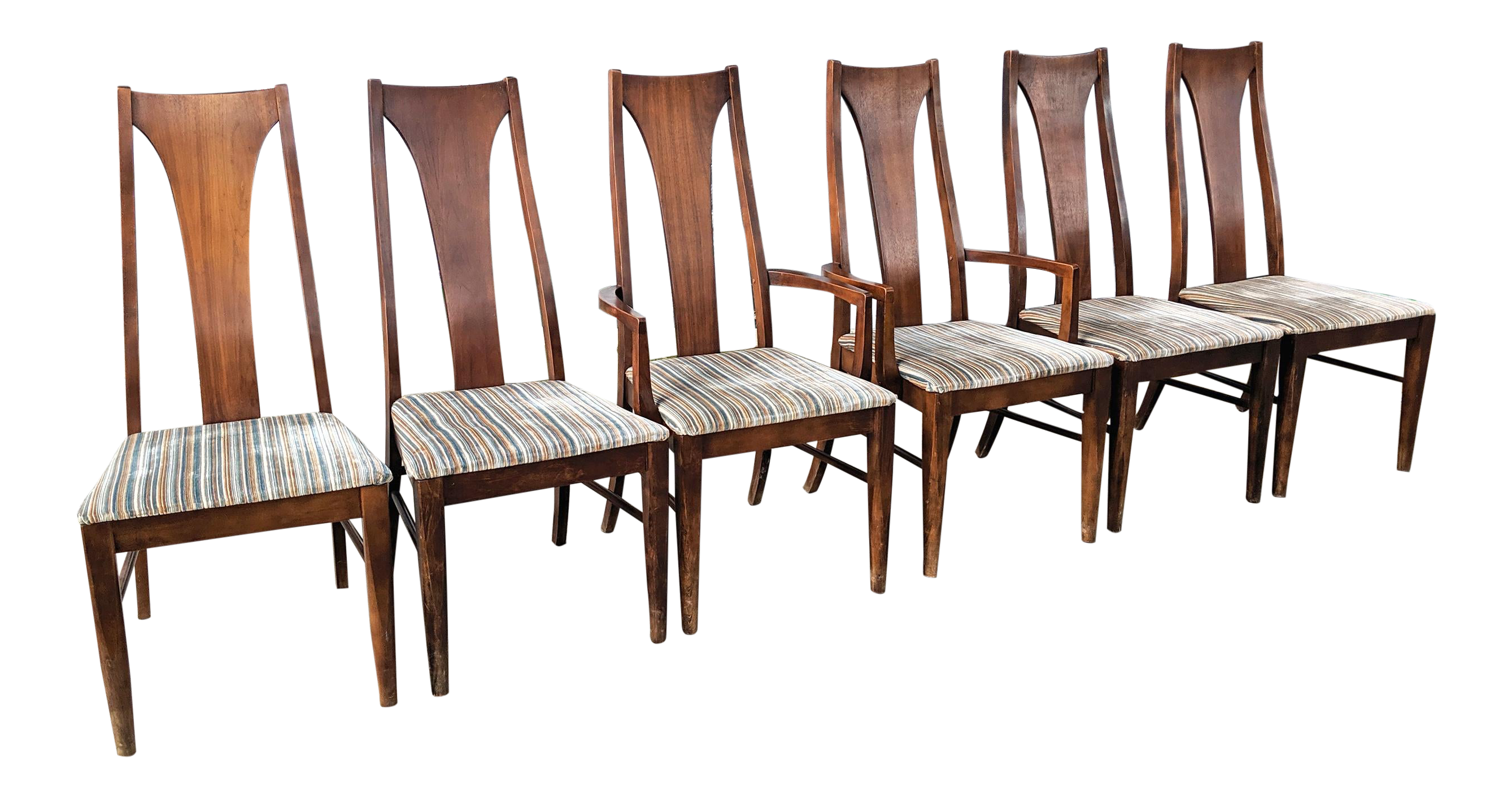 Groovy Mid Century Modern Walnut Dining Chairs In The Style Of Broyhill Brasilia Set Of 6 Pdpeps Interior Chair Design Pdpepsorg