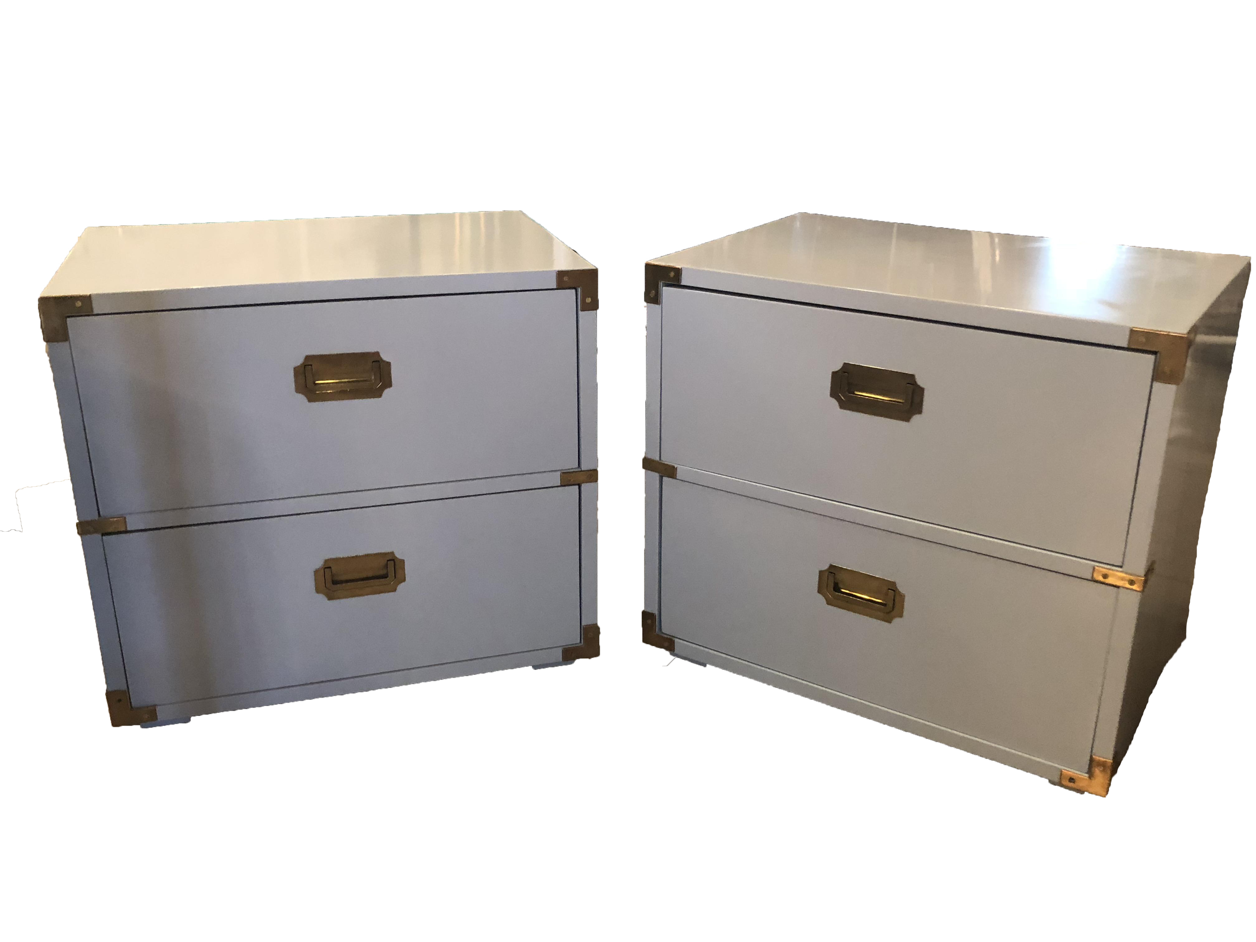 Vintage Lane Furniture Campaign Campaigner Powder Blue Lacquered Brass  Nightstands Chests -A Pair