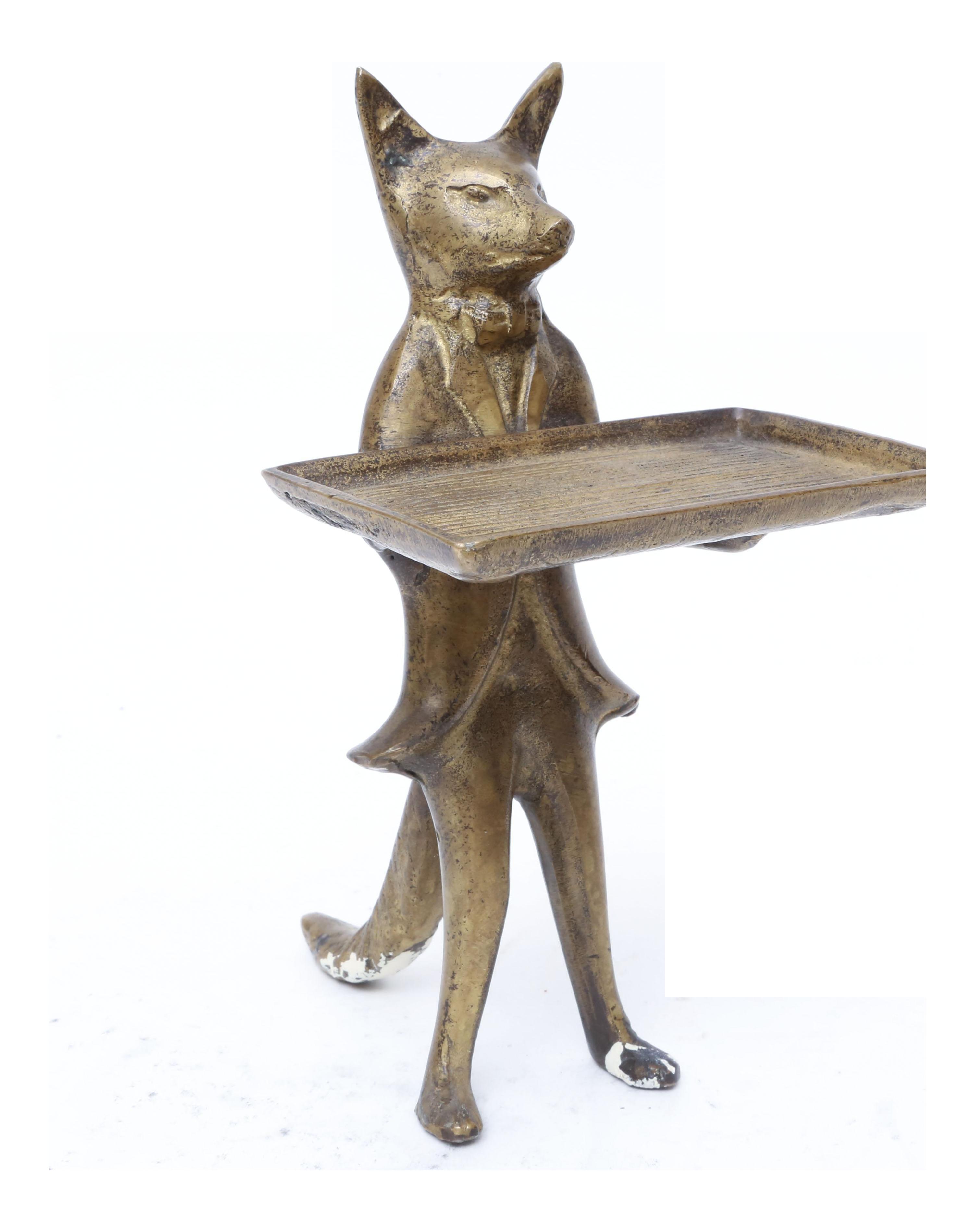 Vintage Brass Fox Business Card Holder Dish   Chairish