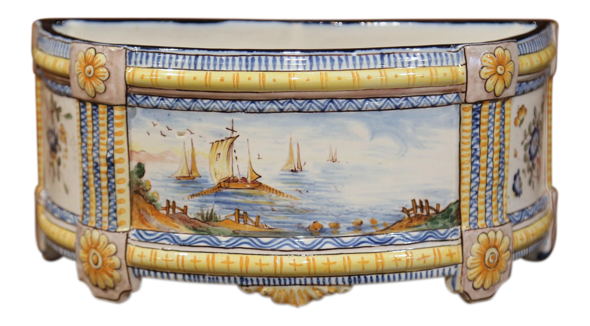 19th Century French Hand Painted Demilune Jardiniere With Sailboats And Flowers Chairish