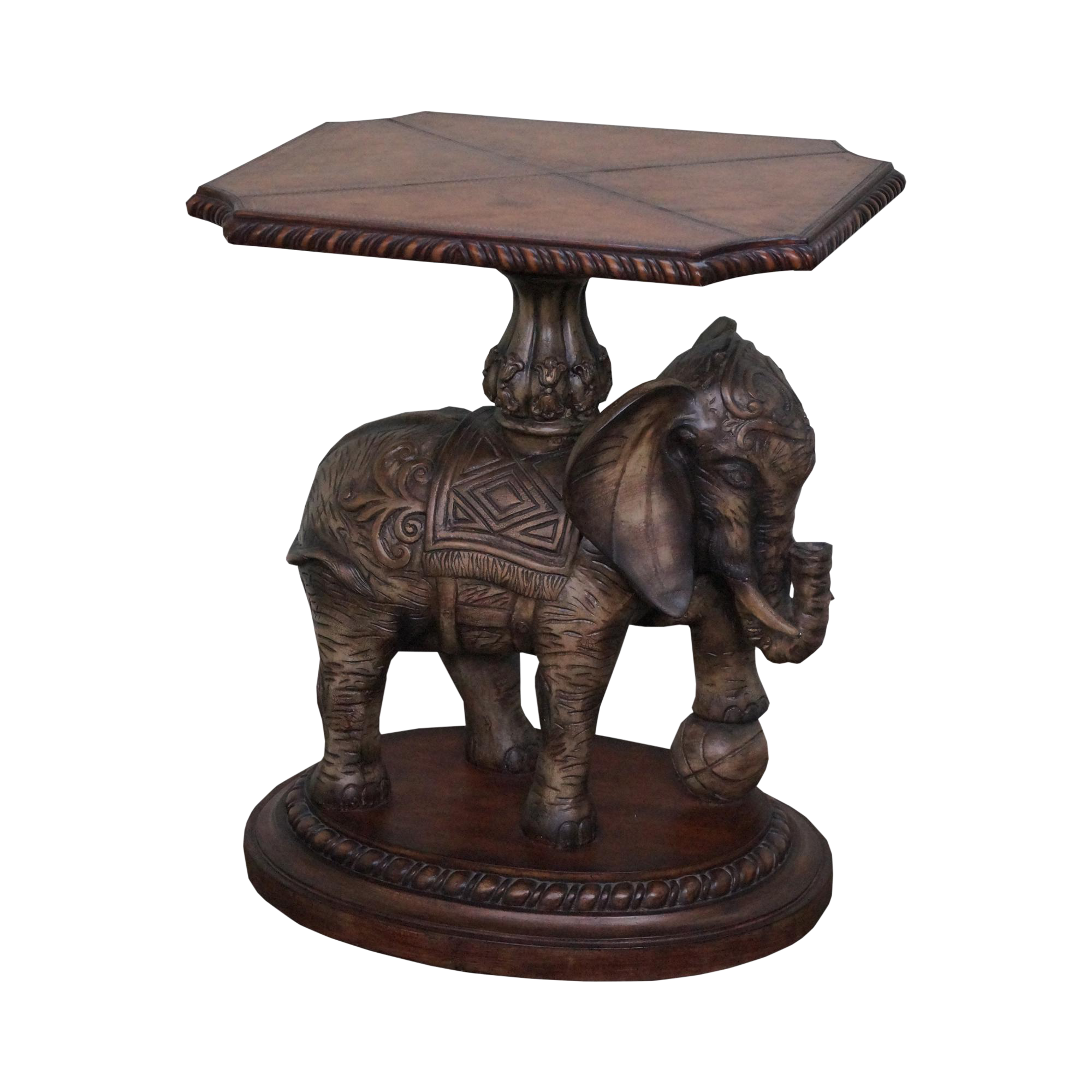 Maitland Smith Leather Top Elephant Side Table Chairish