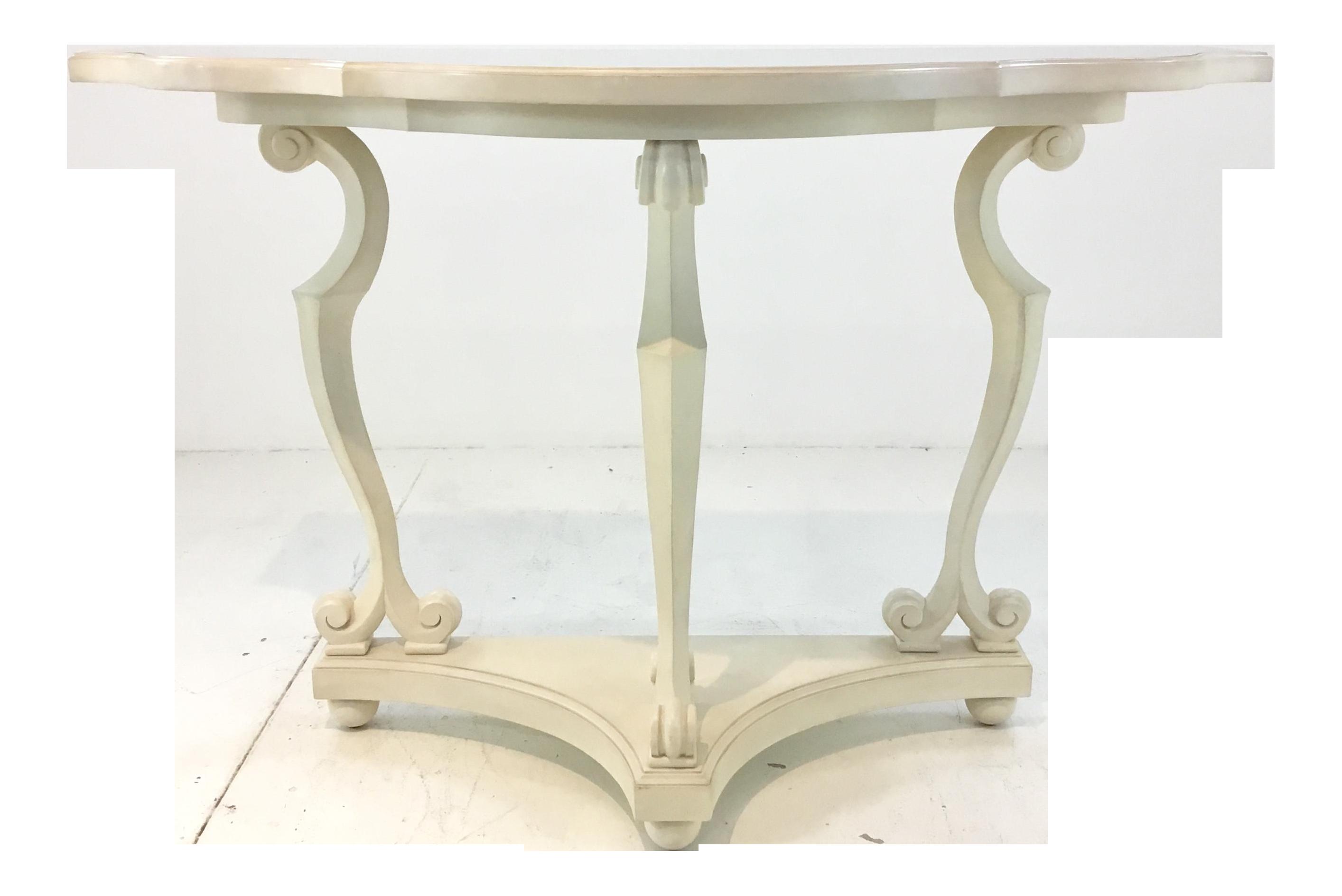 brand new 04abd 860ec Celerie Kemble for Henredon Transitional Ivory Demi-Lune Console Table