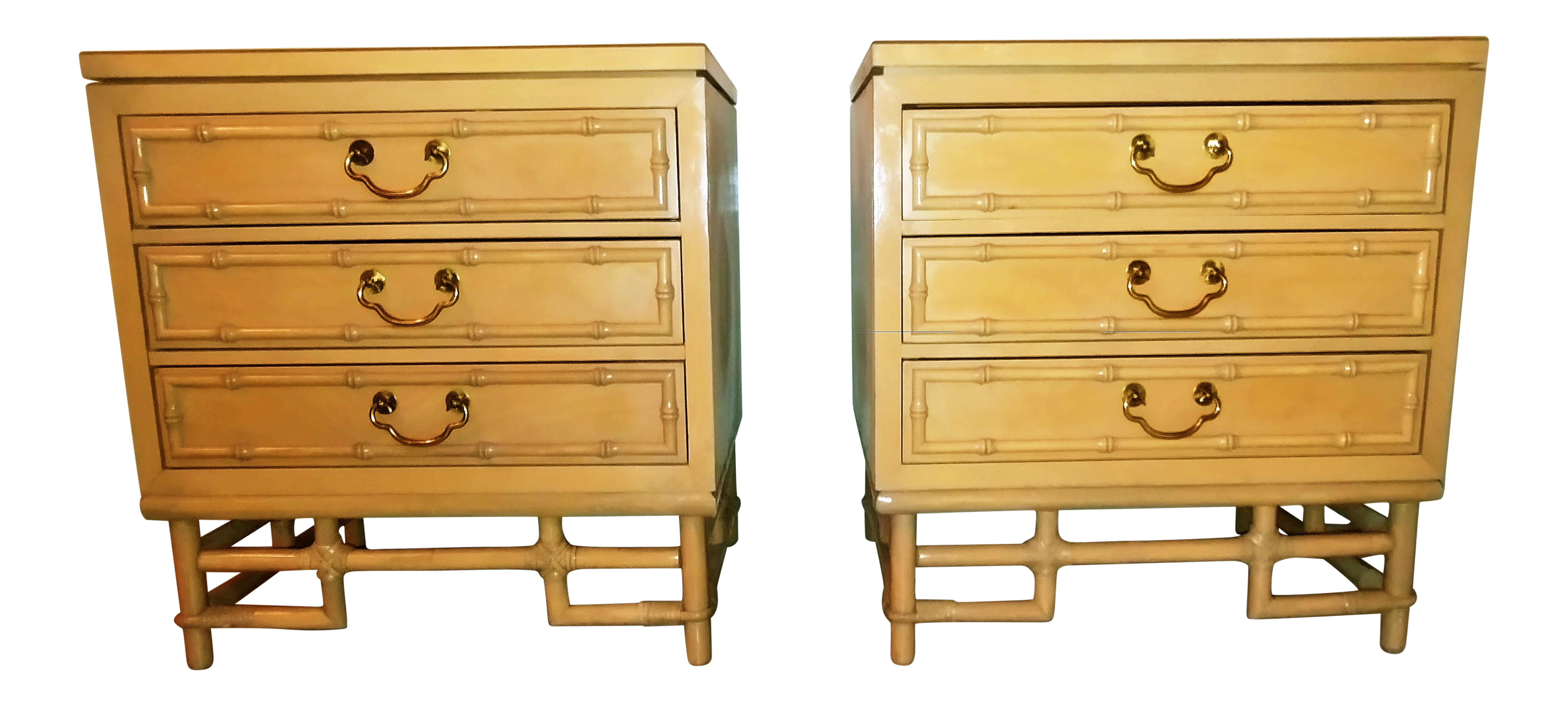 Mid Century Modern Ficks Reed Faux Bamboo Rattan Nightstands  A